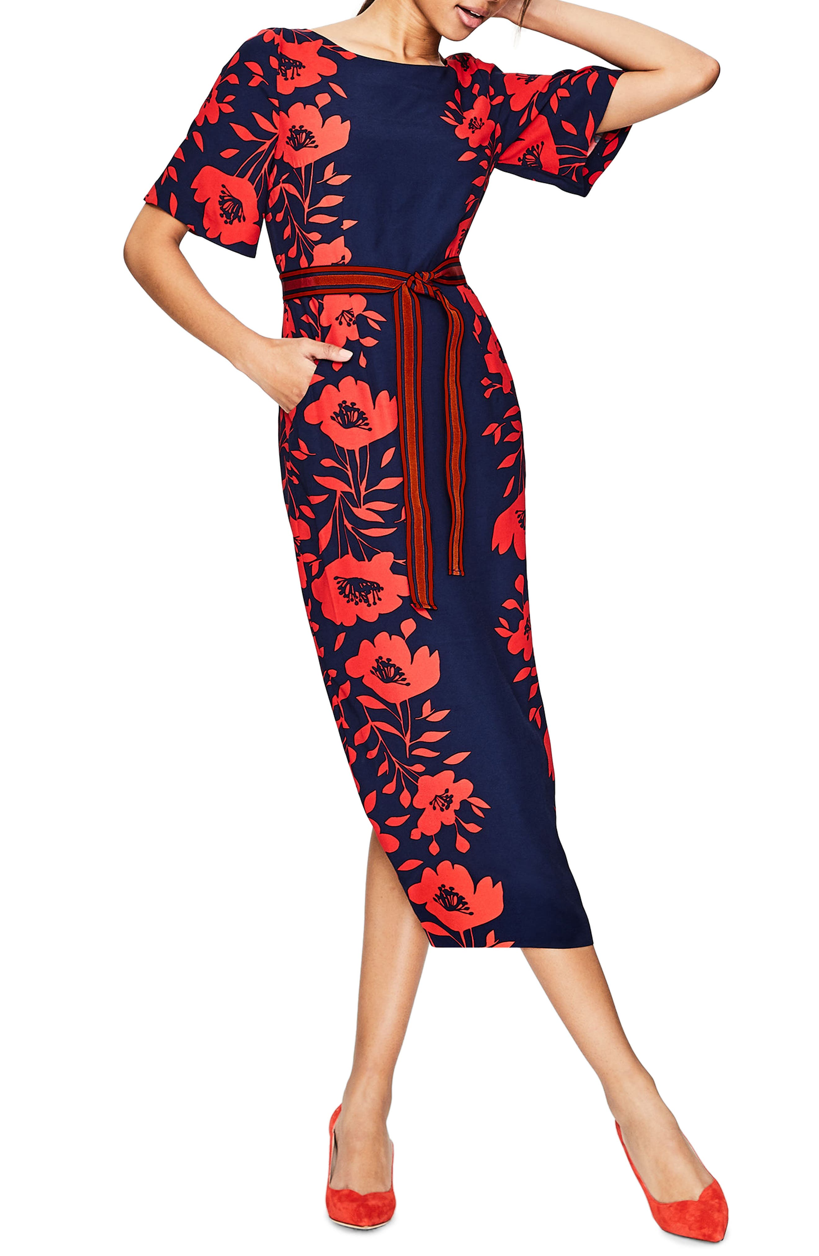 Kimono Sleeve Floral Print Dress,                         Main,                         color, Post Box Red/ Poppy