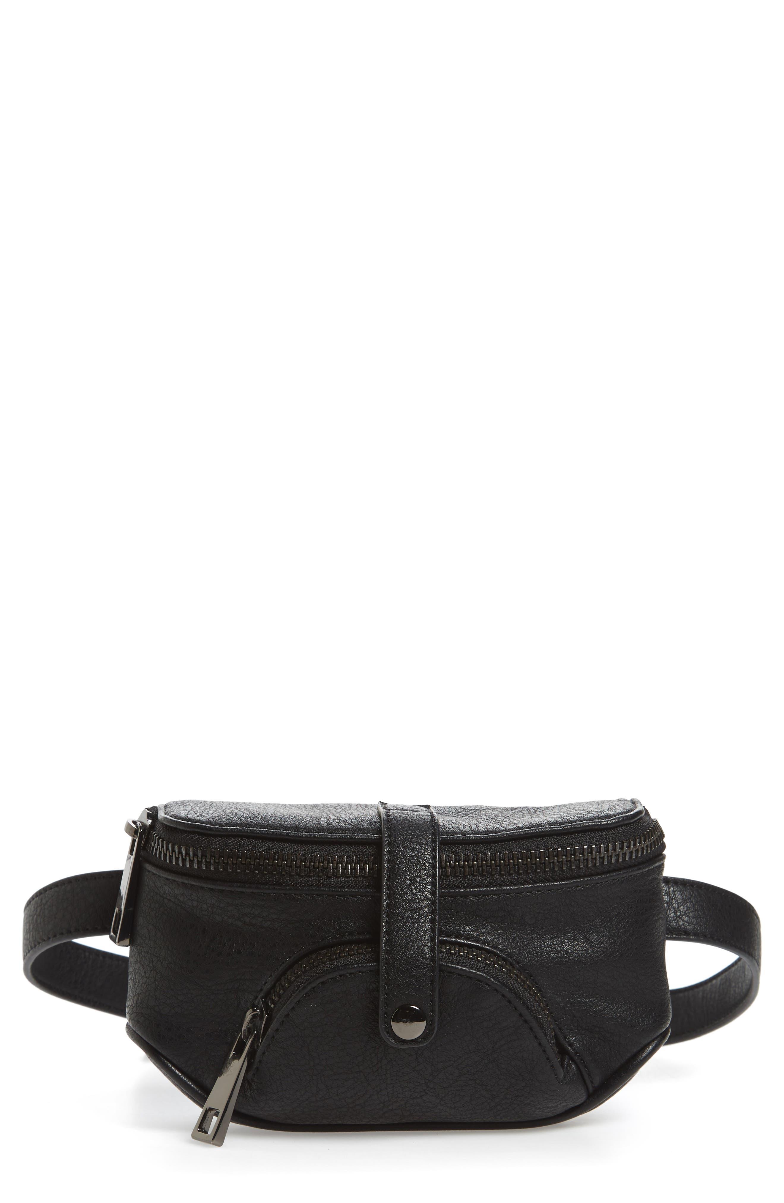 Faux Leather Belt Bag,                         Main,                         color, Black