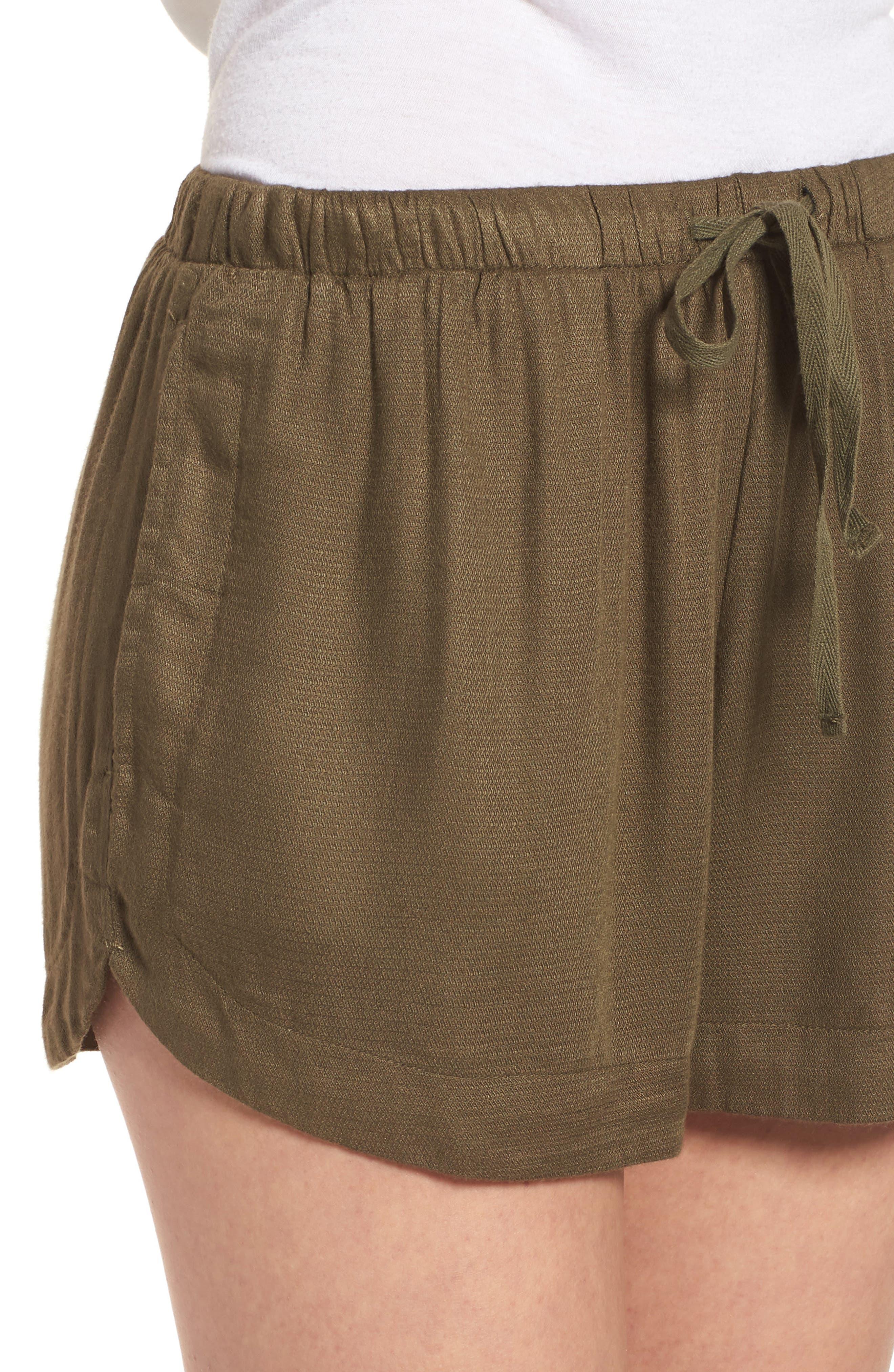 Vary Yume Shorts,                             Alternate thumbnail 4, color,                             Burnt Olive