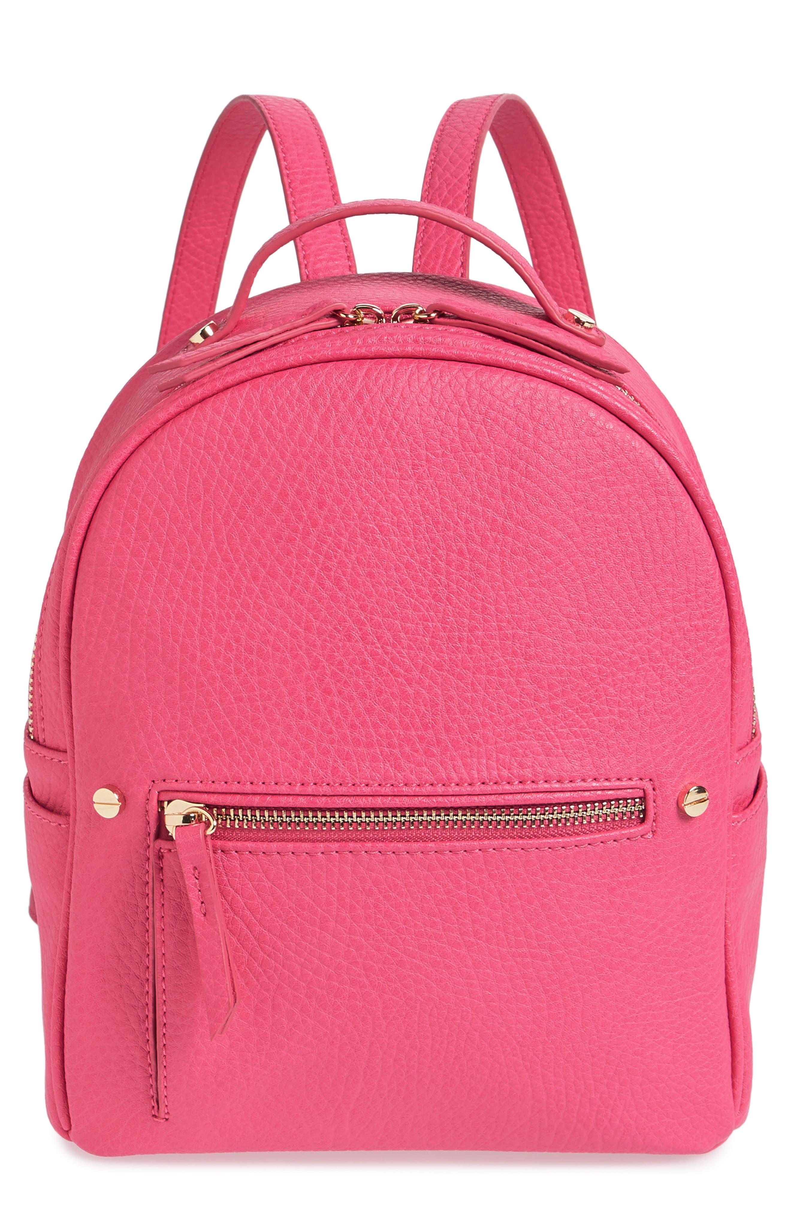 Mali + Lili Hannah Vegan Leather Backpack,                         Main,                         color, Hot Pink