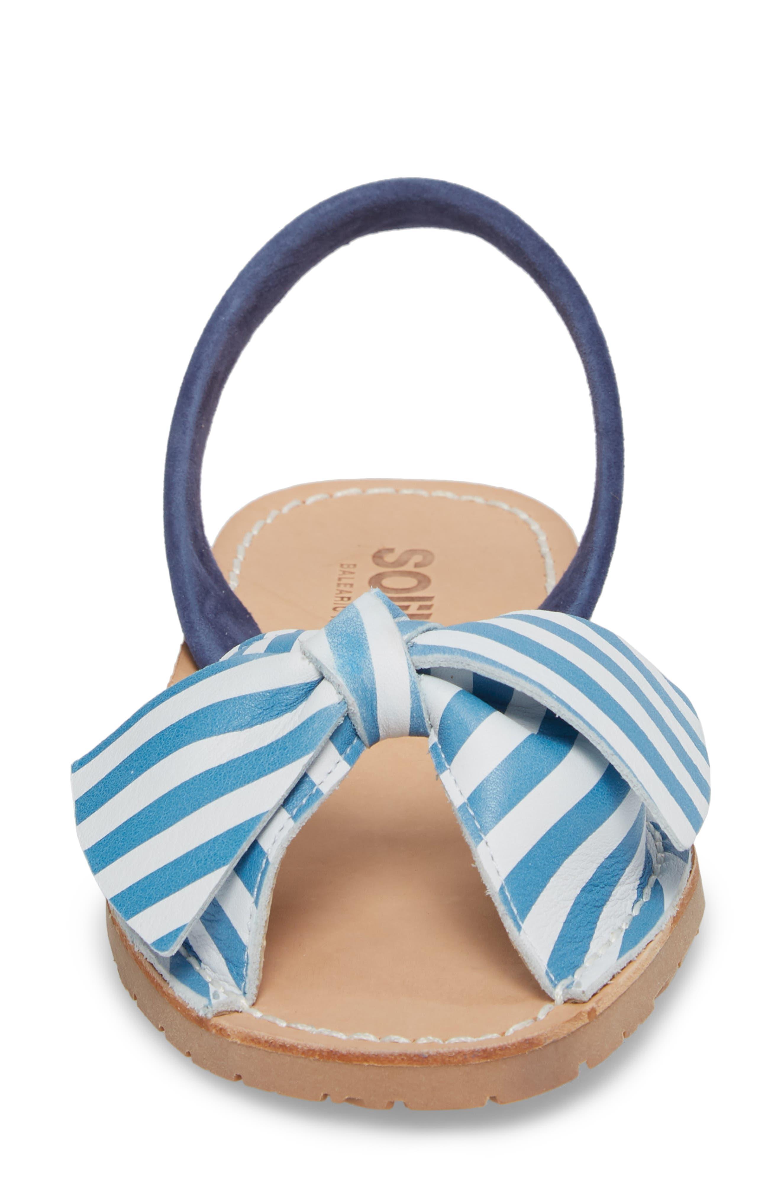 Bow Sandal,                             Alternate thumbnail 4, color,                             Blue And White
