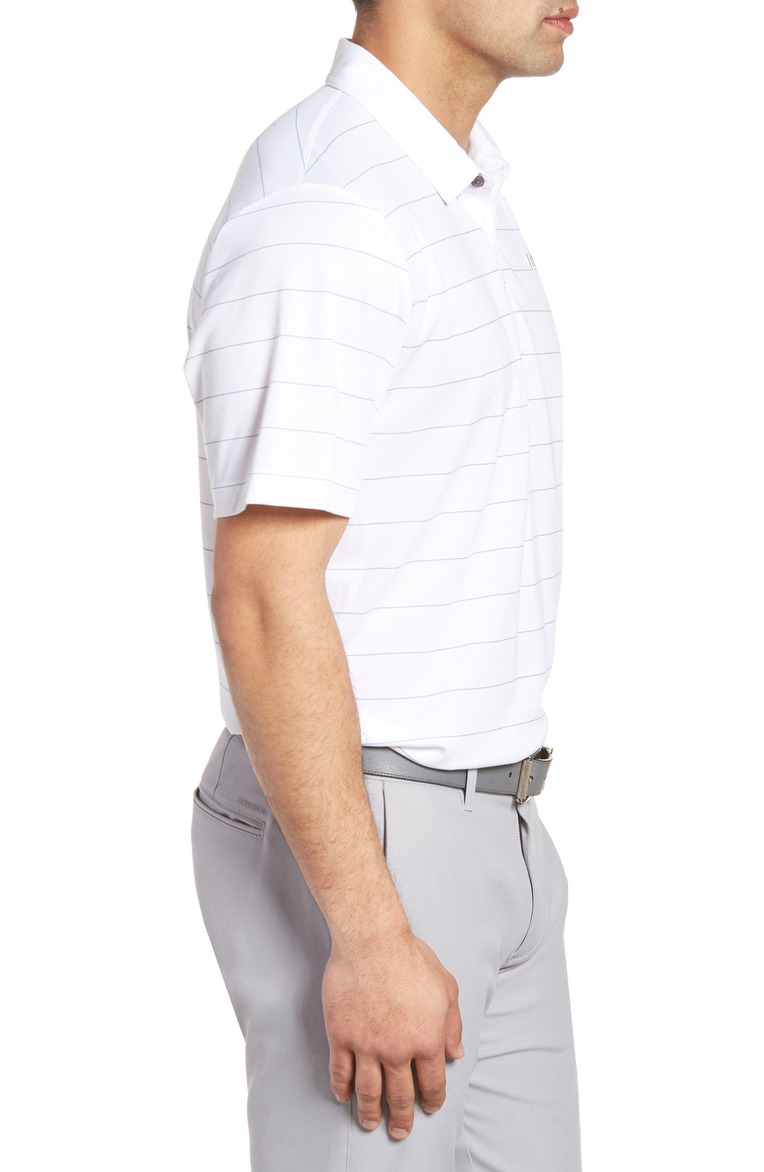 Stripe Cotton Blend Polo,                             Alternate thumbnail 3, color,                             White