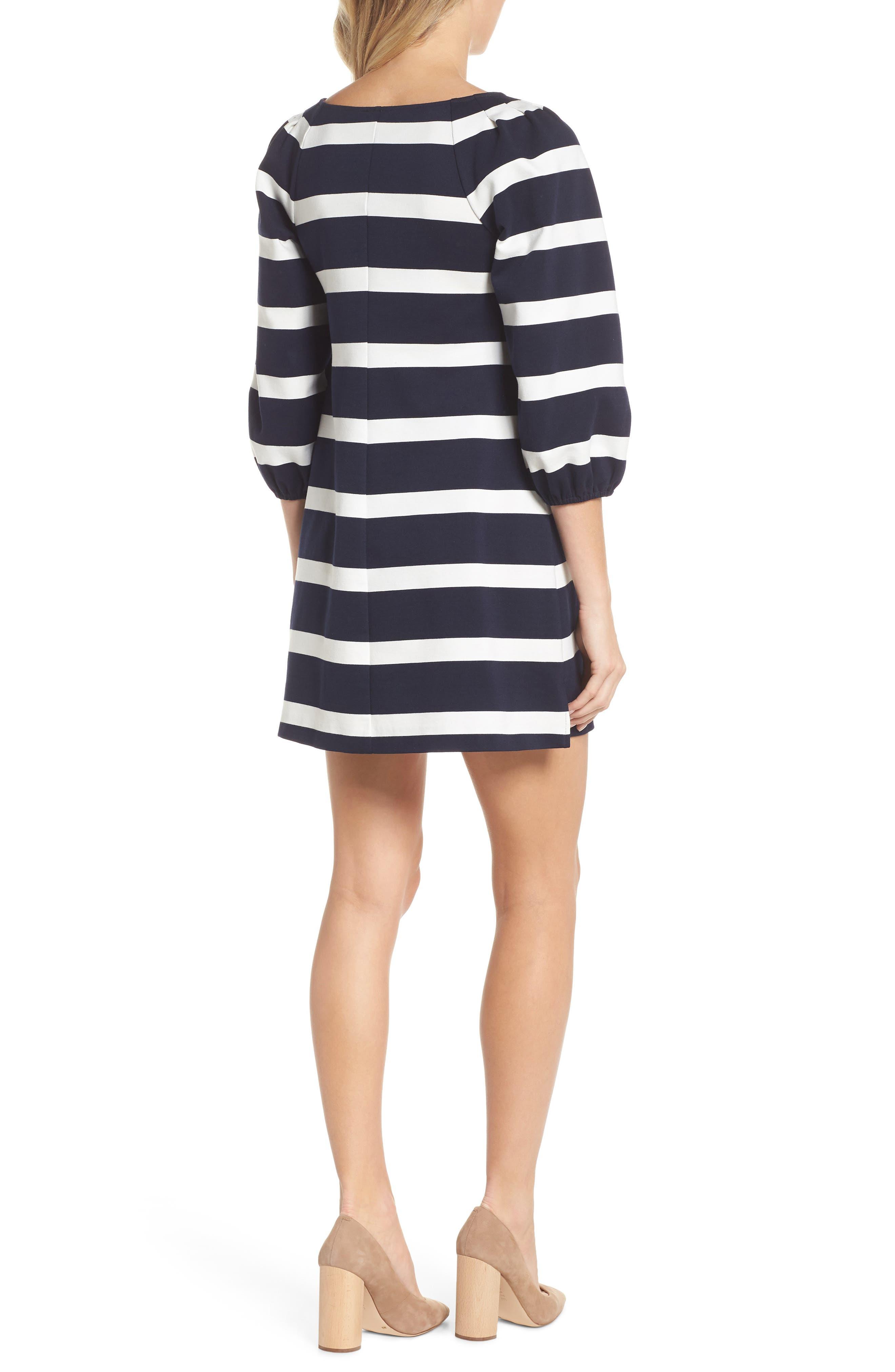 Stripe Balloon Sleeve Shift Dress,                             Alternate thumbnail 2, color,                             Navy/ Ivory