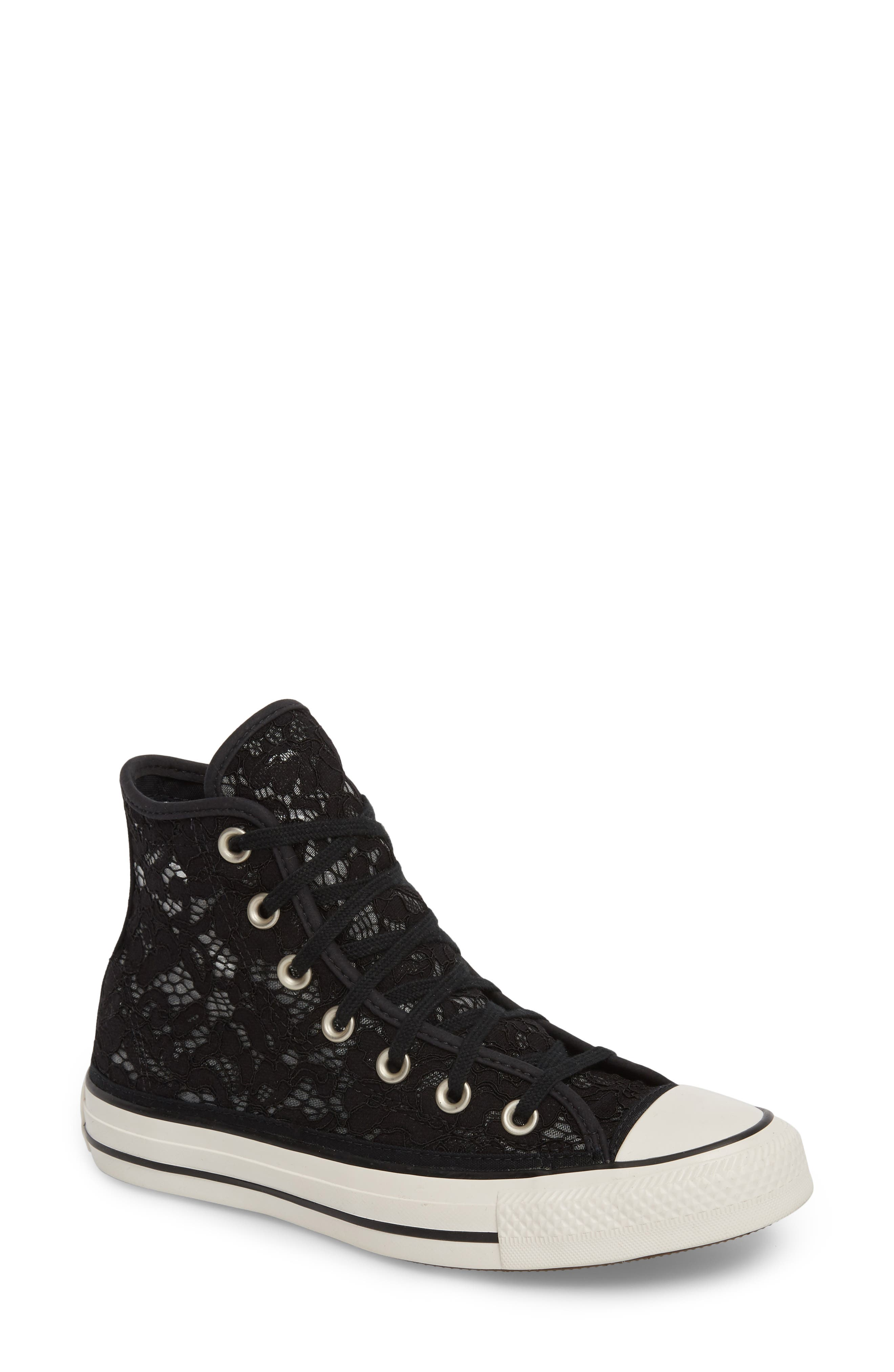 Chuck Taylor<sup>®</sup> All Star Lace High-Top Sneaker,                         Main,                         color, Black/ White