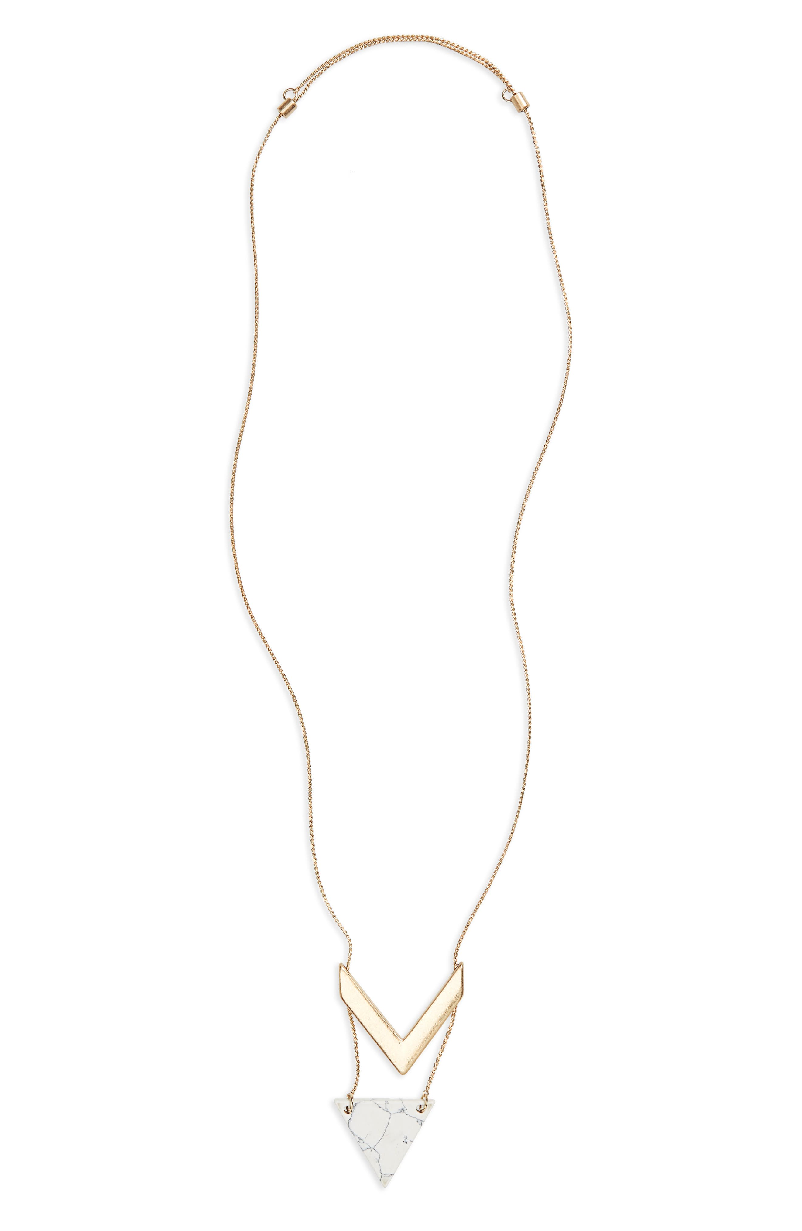 Stone Chevron Pendant Necklace,                         Main,                         color, Gold/ Marble
