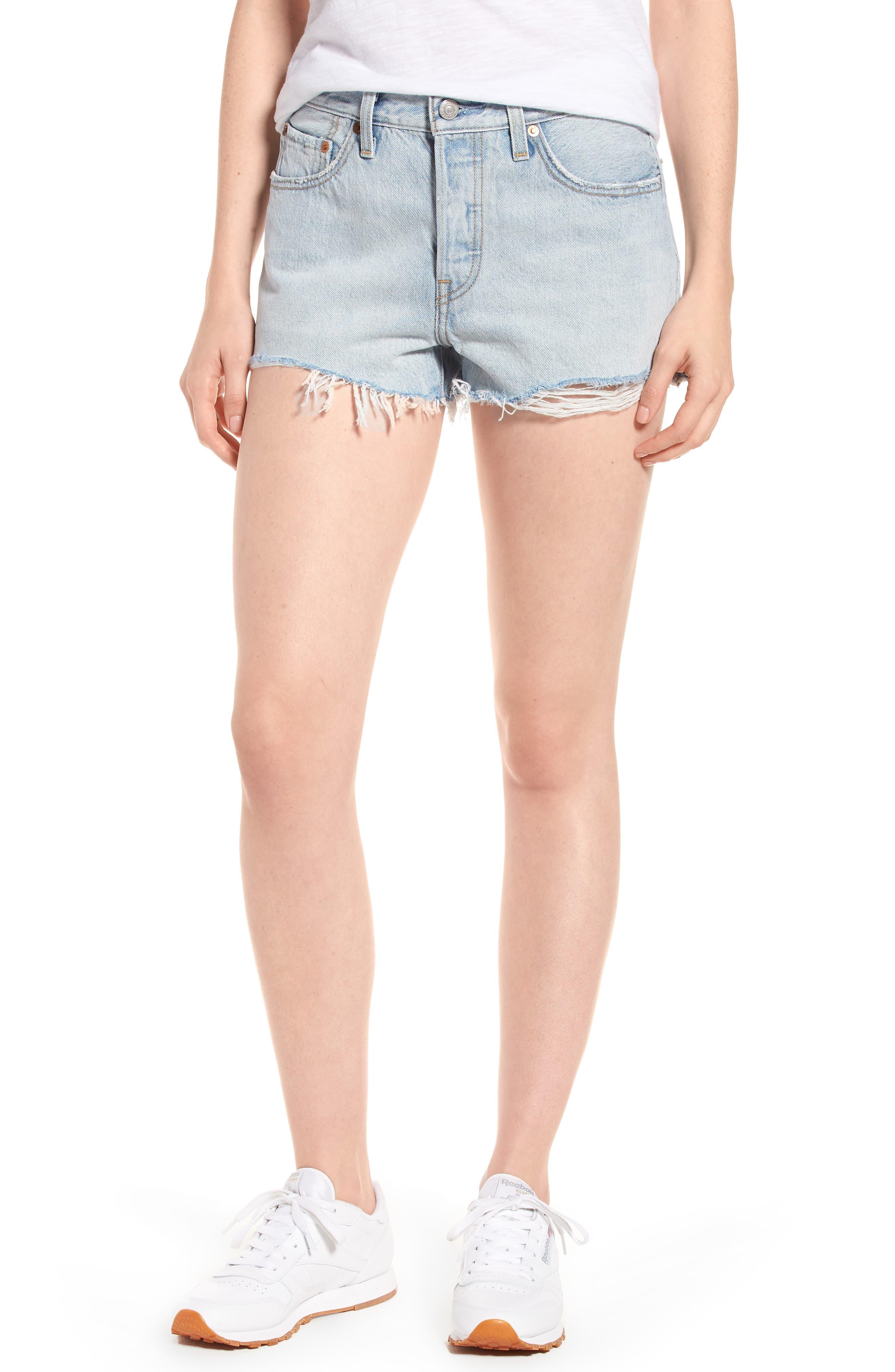 501<sup>®</sup> Cutoff Denim Shorts,                         Main,                         color, Bleached Authentic