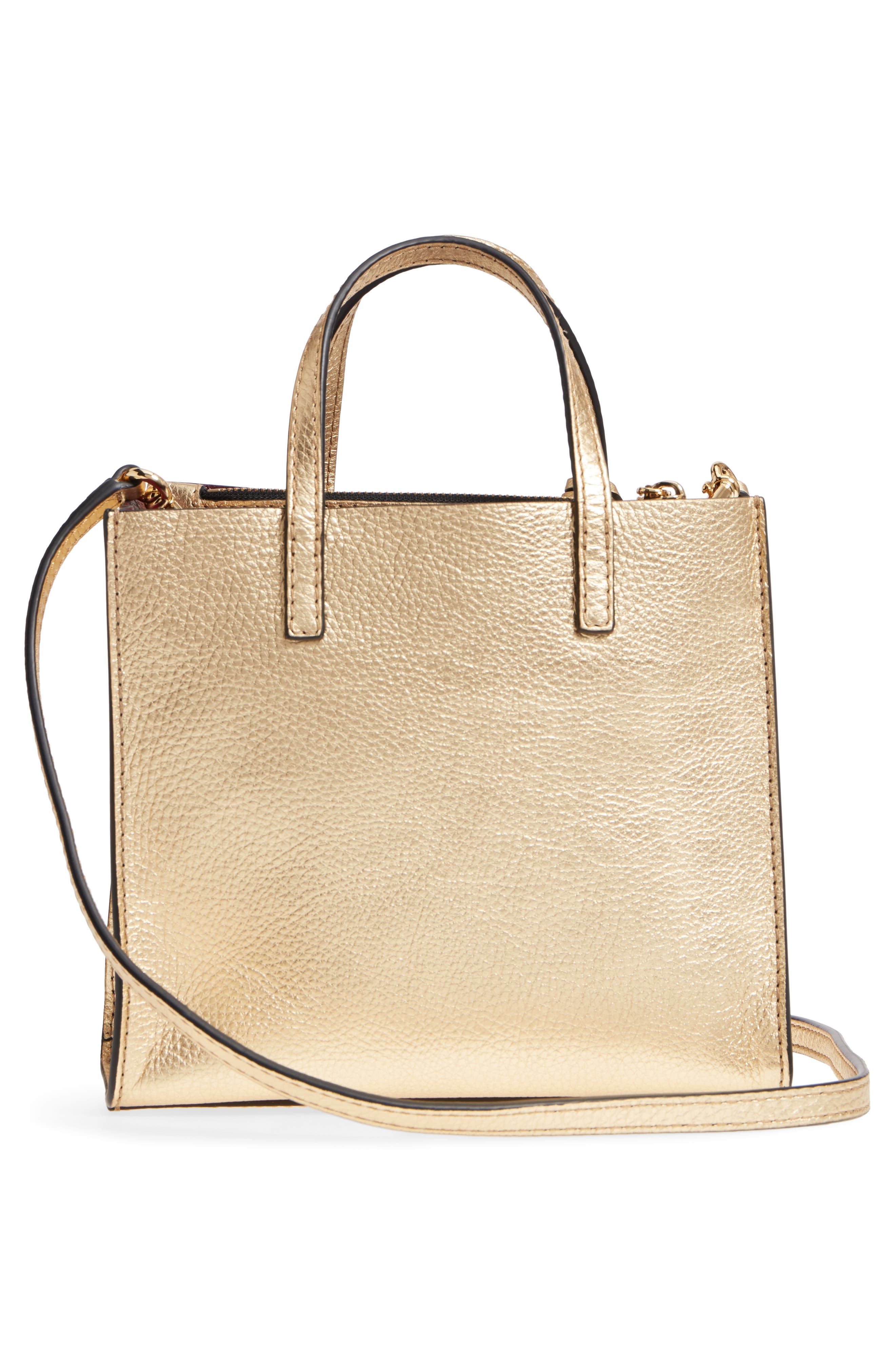 Mini The Grind Metallic Leather Tote,                             Alternate thumbnail 3, color,                             Gold