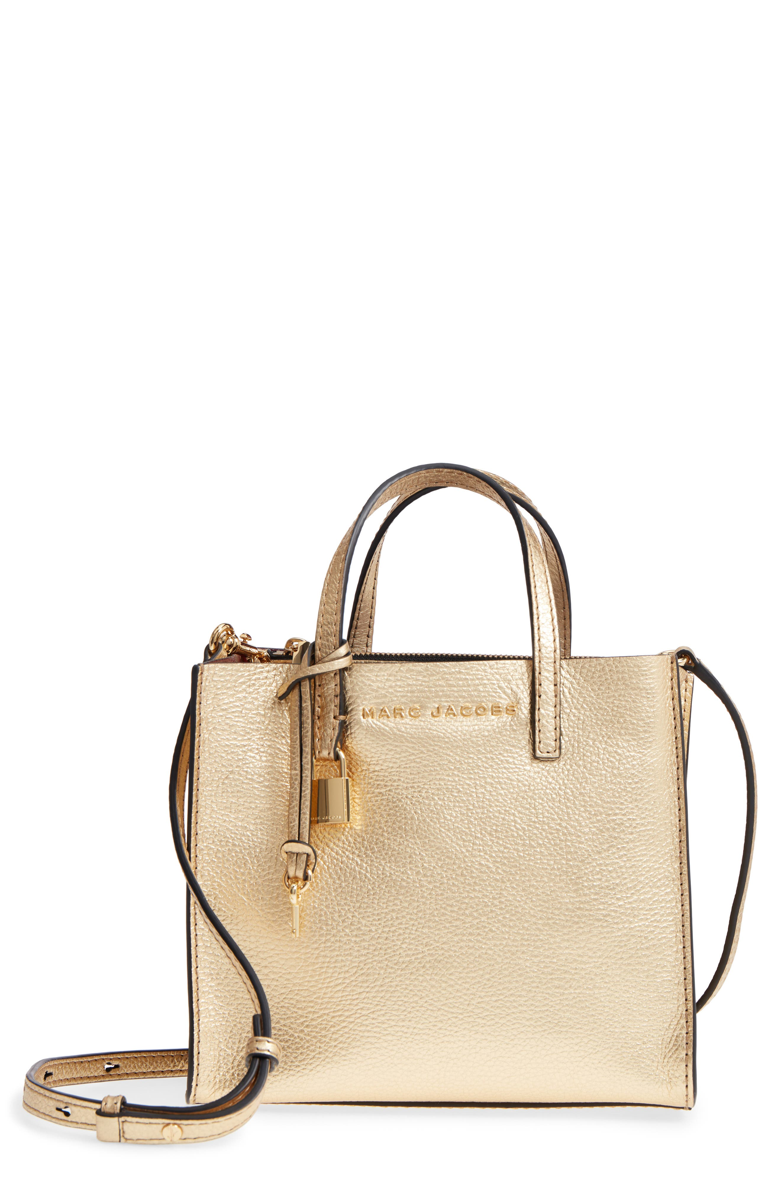 Mini The Grind Metallic Leather Tote,                         Main,                         color, Gold