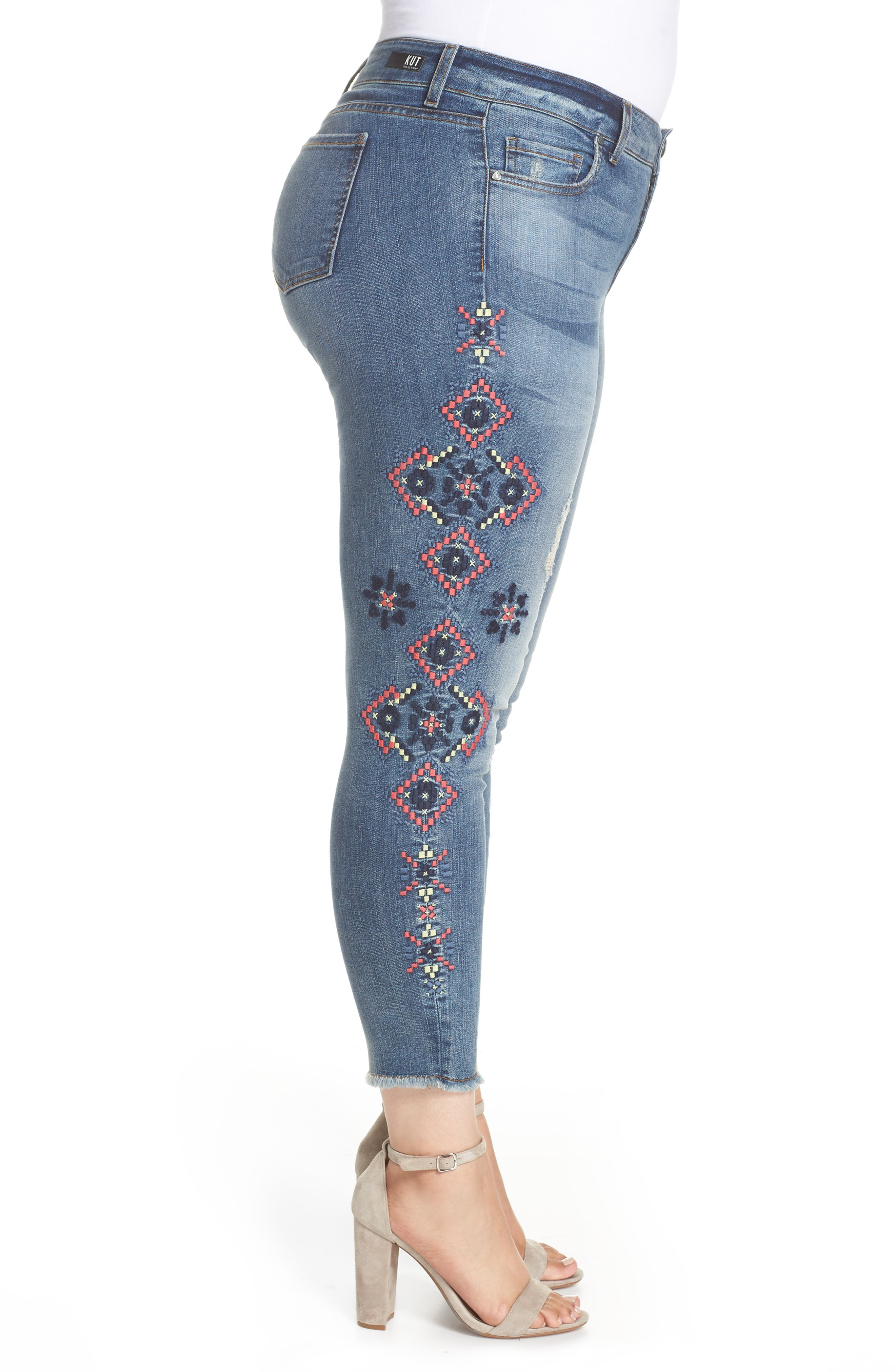 Embroidered Skinny Jeans,                             Alternate thumbnail 3, color,                             Input