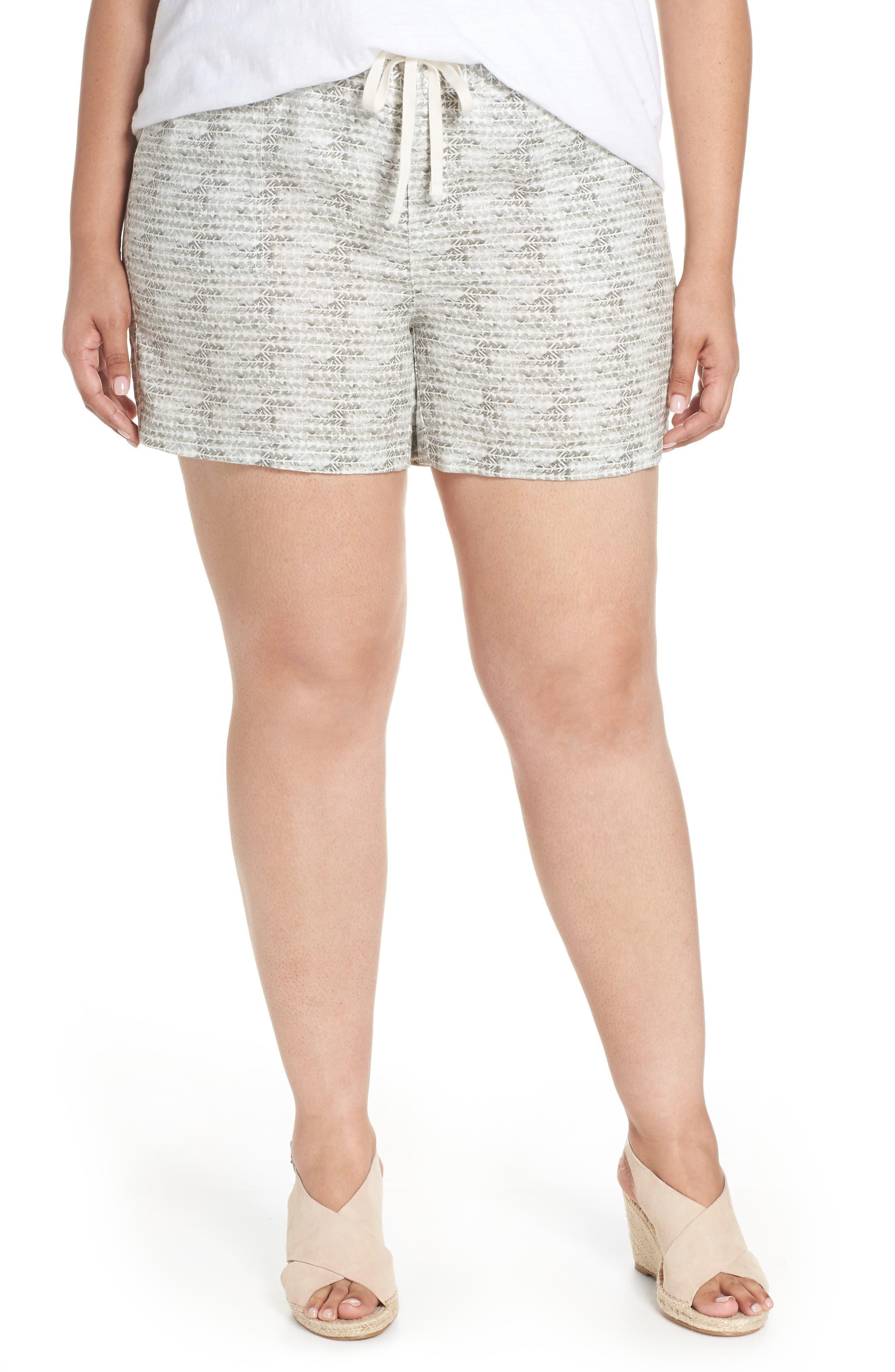 Linen Shorts,                         Main,                         color, Ivory- Olive Diamond Direction