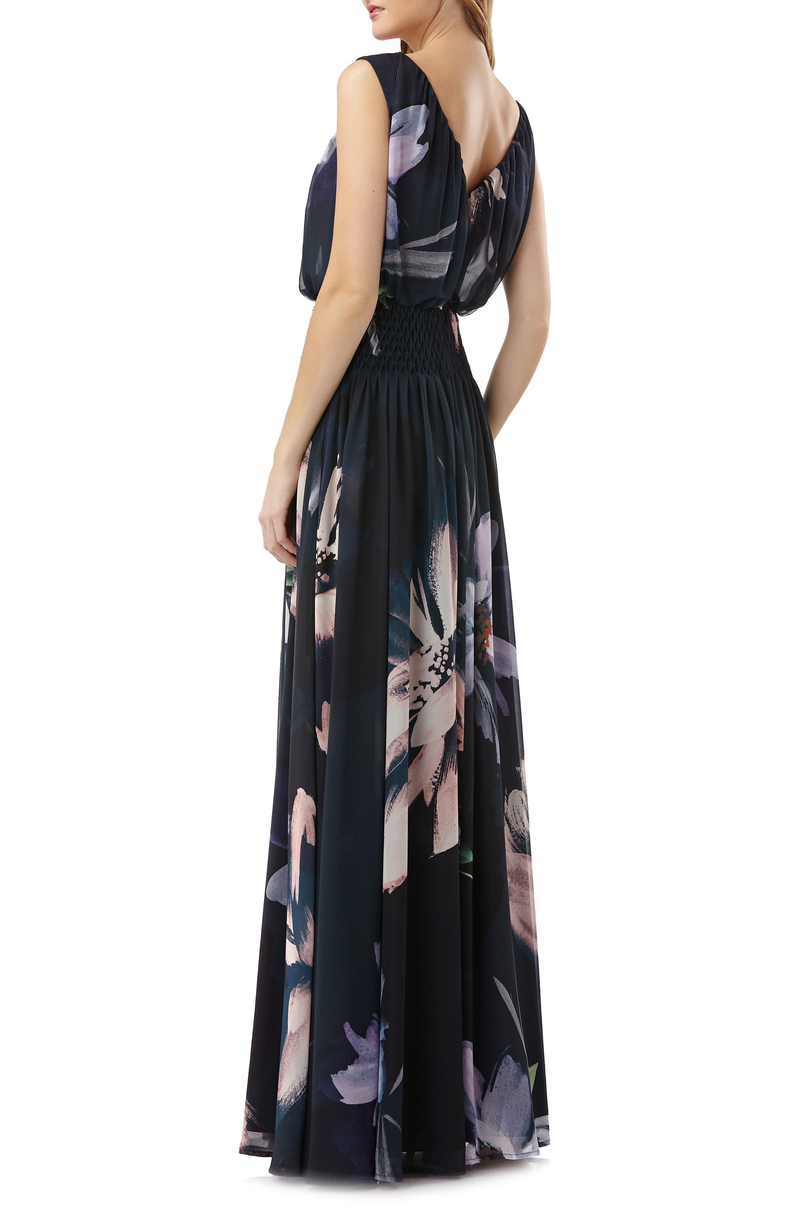 Floral Print Chiffon Gown,                             Alternate thumbnail 2, color,                             Black Multi