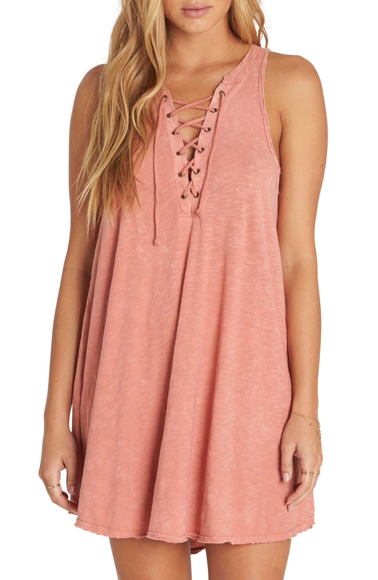 Let Loose Lace-Up Swing Dress,                             Main thumbnail 1, color,                             Sunburnt