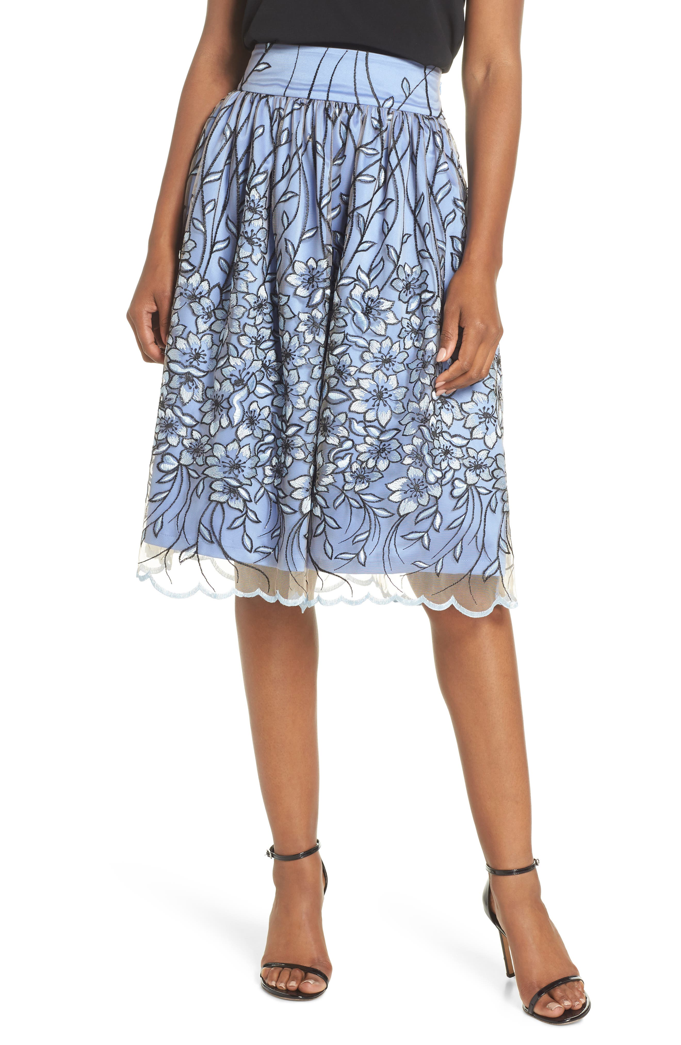 Embroidered A-Line SKirt,                         Main,                         color, Blue Black