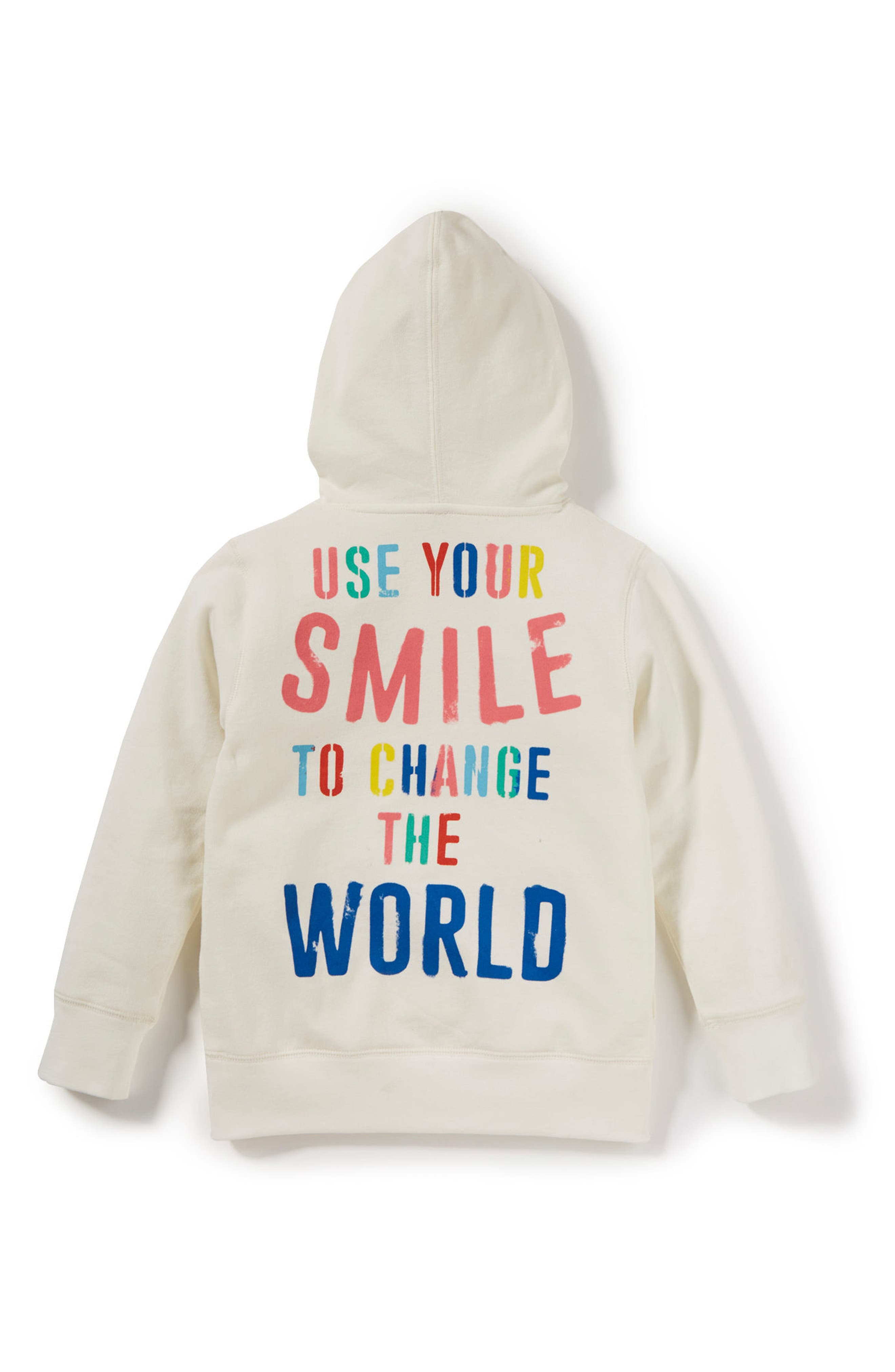 Use Your Smile Hoodie,                             Alternate thumbnail 2, color,                             Ivory