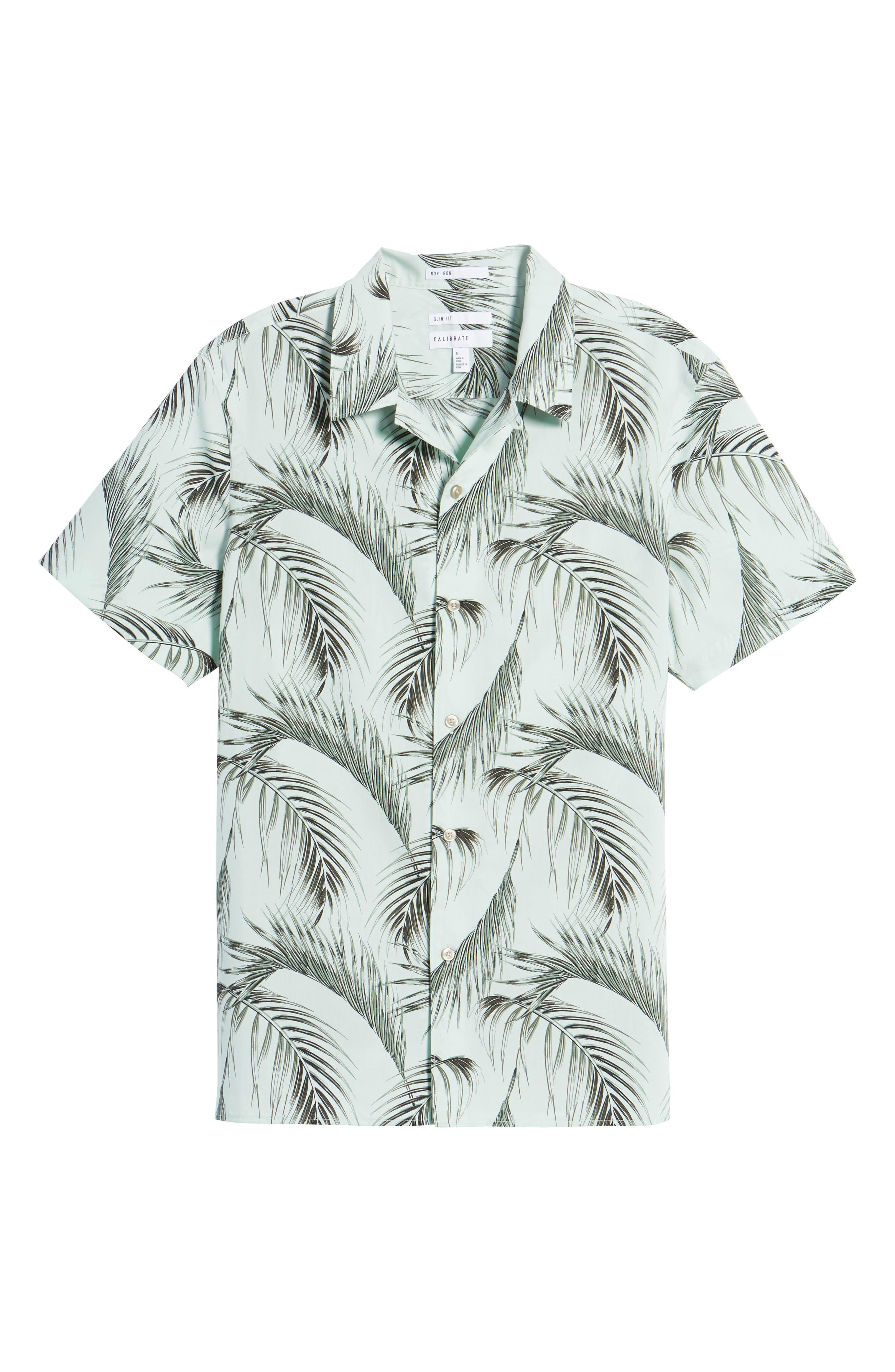Slim Fit Short Sleeve Print Camp Shirt,                             Alternate thumbnail 6, color,                             Green Screen Palms