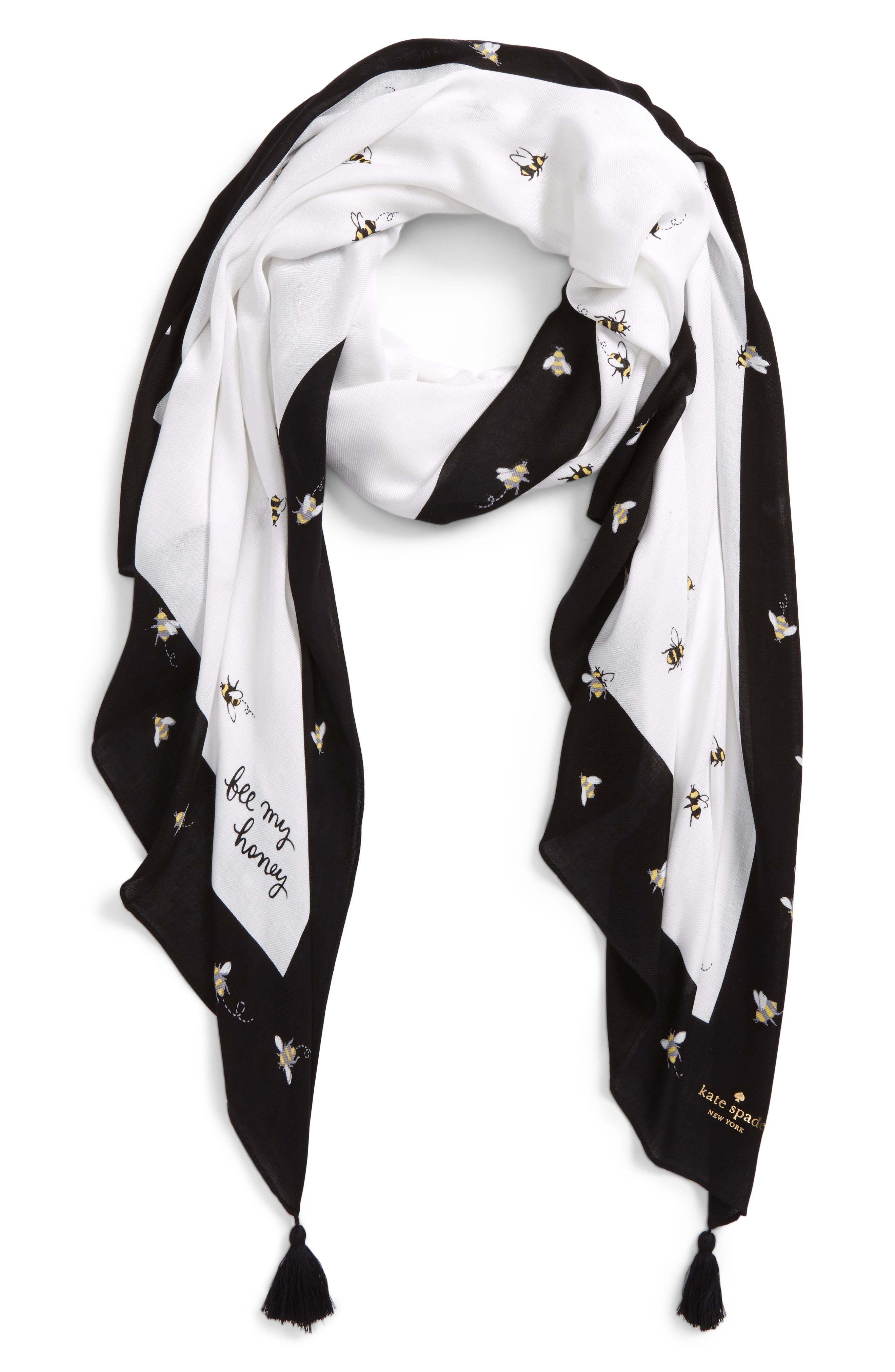 abuzz tasseled scarf,                             Main thumbnail 1, color,                             Fresh White