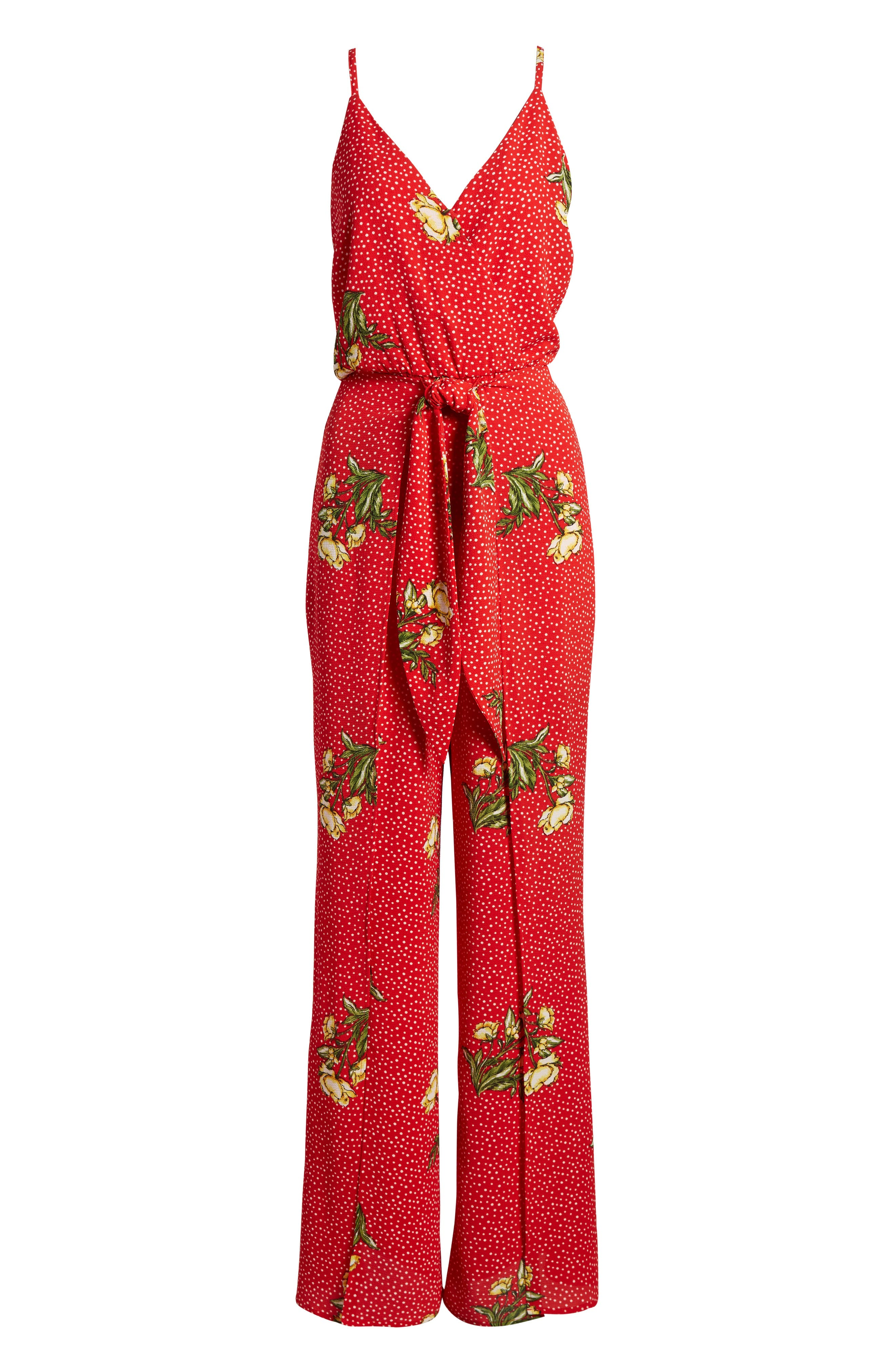 Wrap Jumpsuit,                             Alternate thumbnail 6, color,                             Red/ Yellow