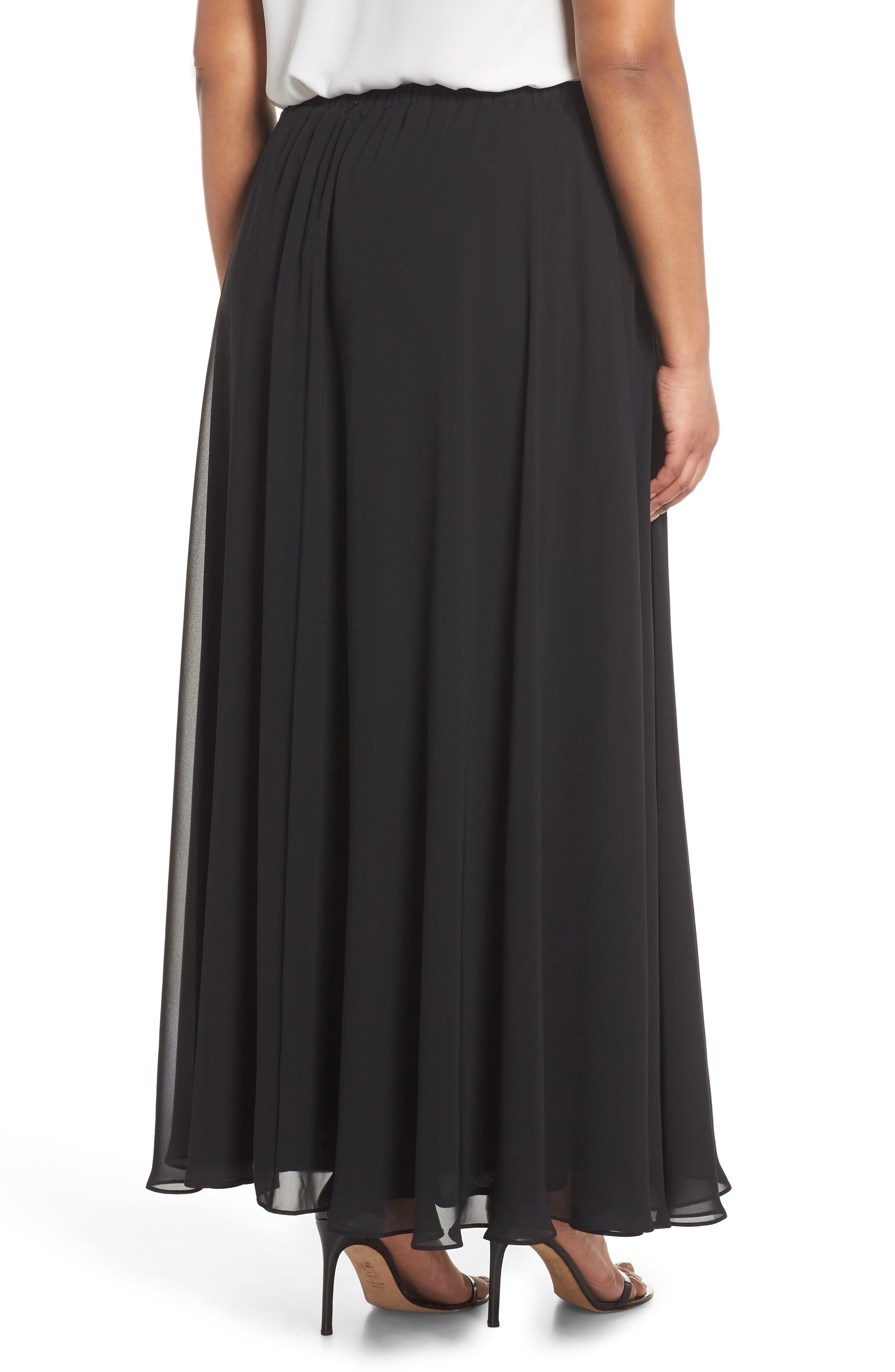 Long Circle Skirt,                             Alternate thumbnail 2, color,                             Black