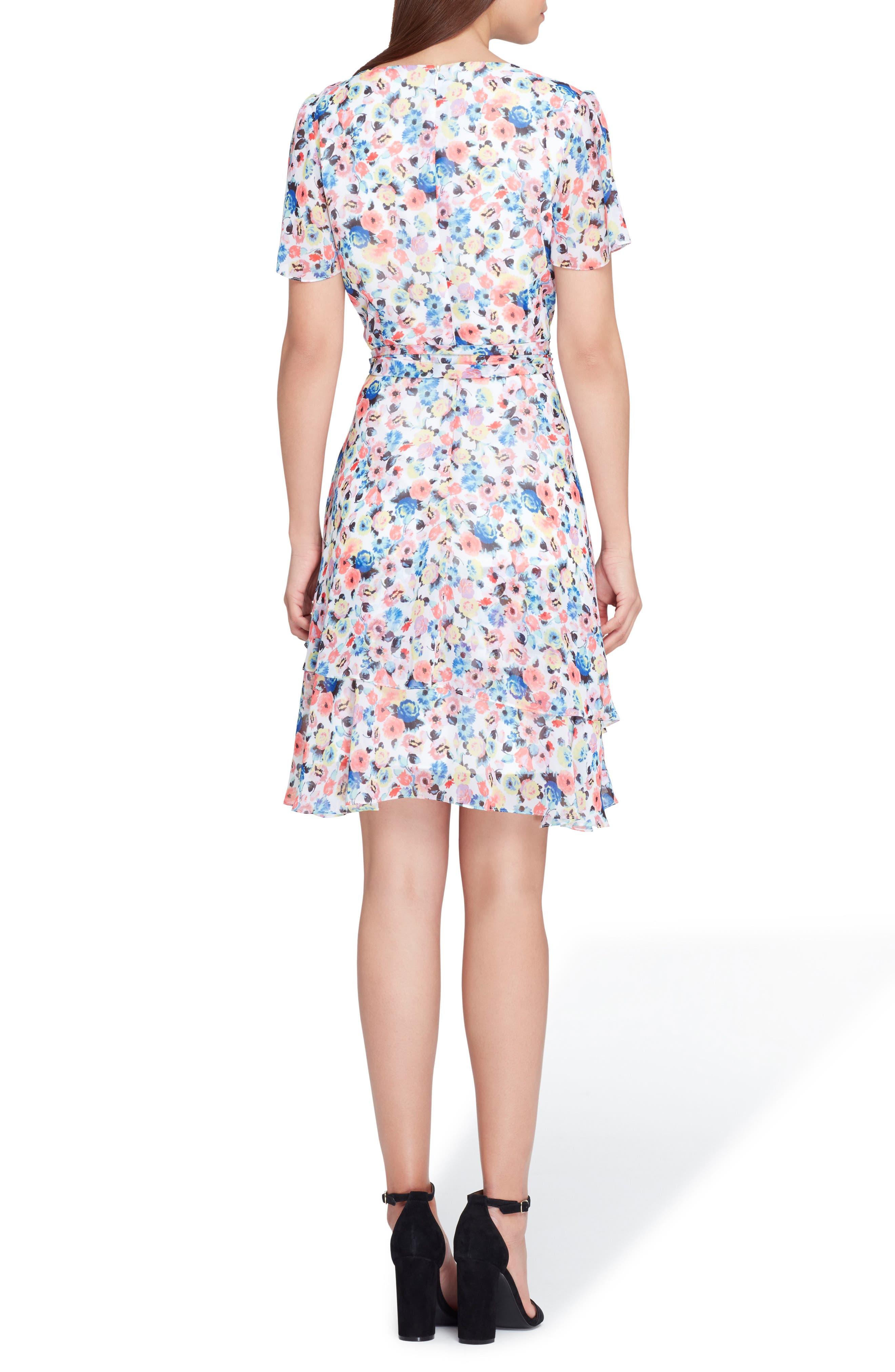 Floral Chiffon Faux Wrap Dress,                             Alternate thumbnail 2, color,                             White/ Coral/ Royal