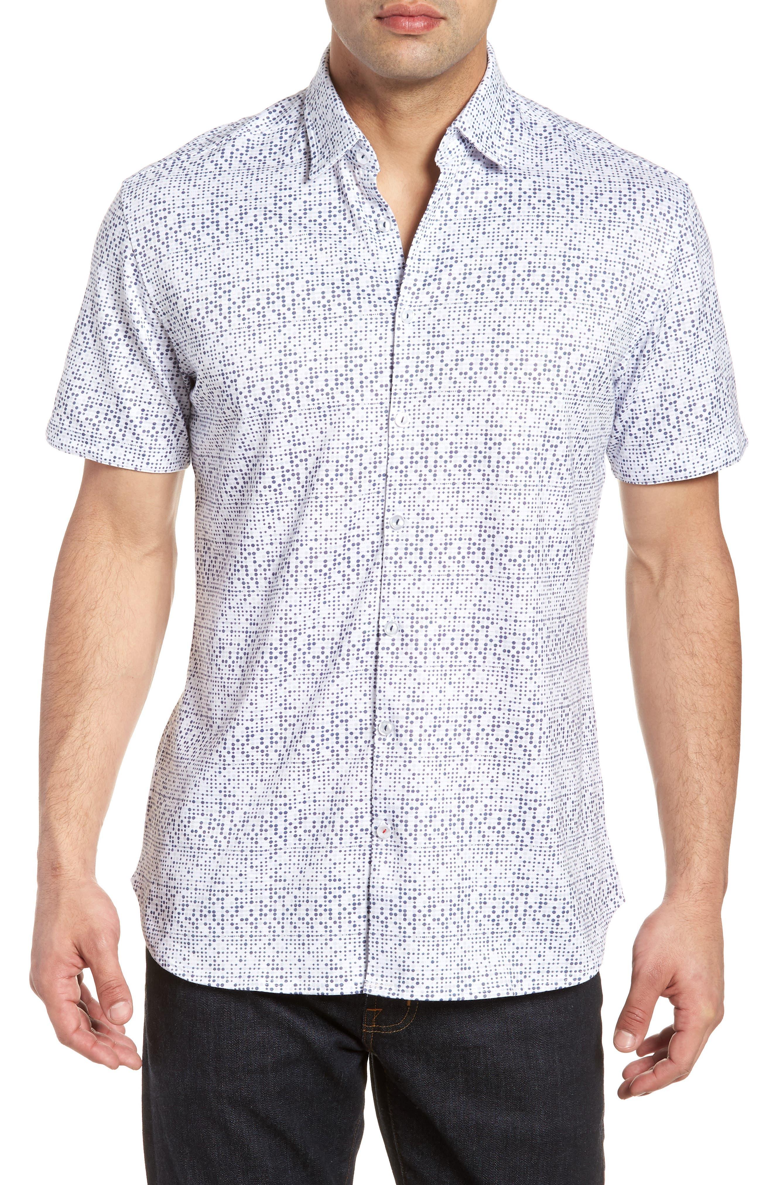 Knit Sport Shirt,                         Main,                         color, White
