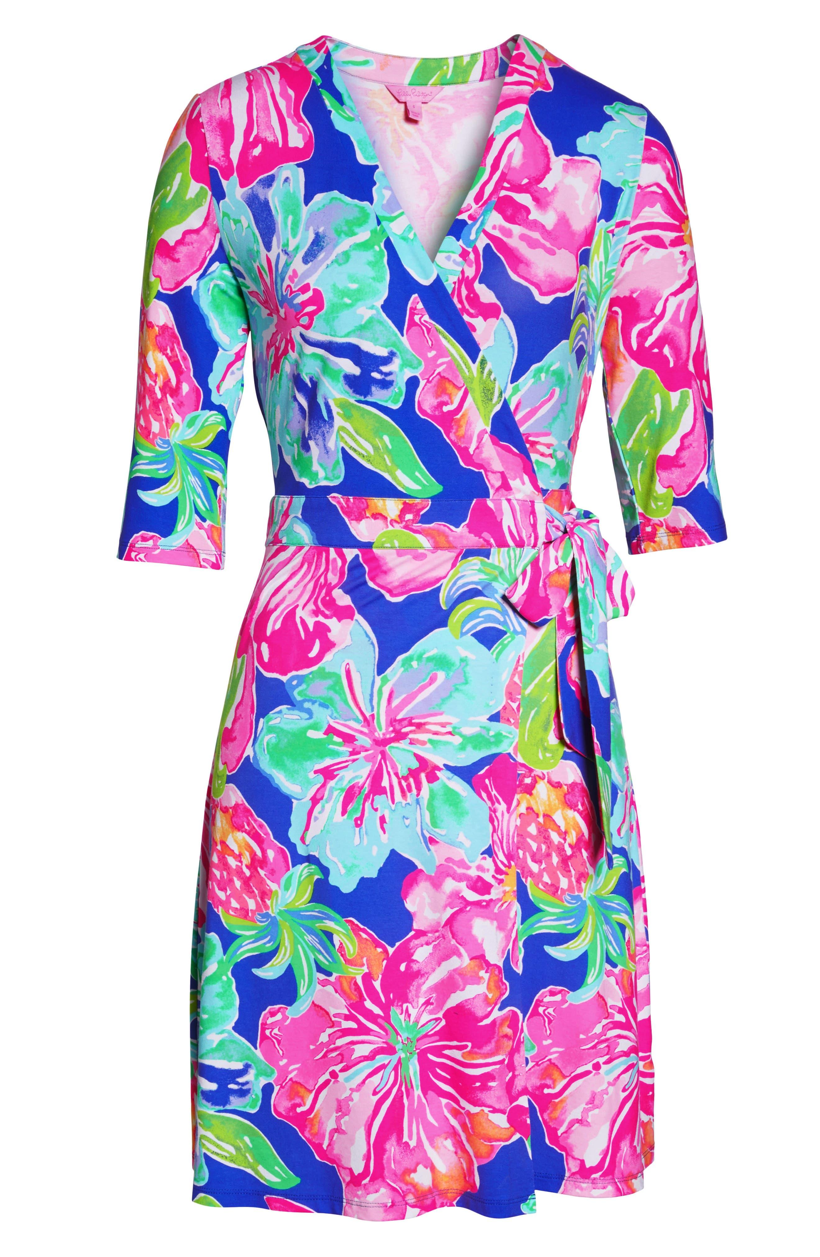Marvista Wrap Dress,                             Alternate thumbnail 6, color,                             Beckon Blue Jungle Utopia