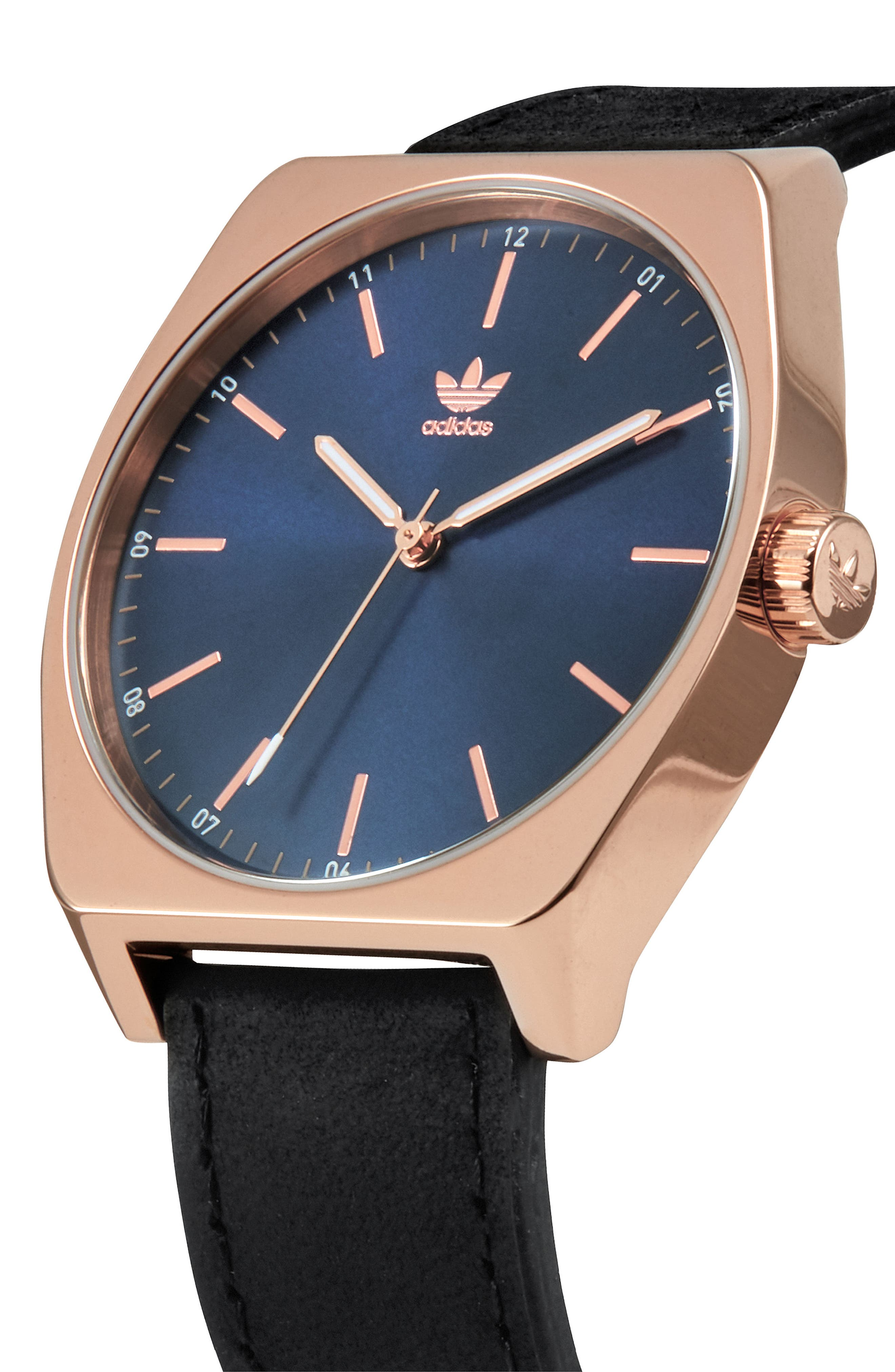 Process Leather Strap Watch, 38mm,                             Alternate thumbnail 4, color,                             Rose Gold/ Navy/ Black