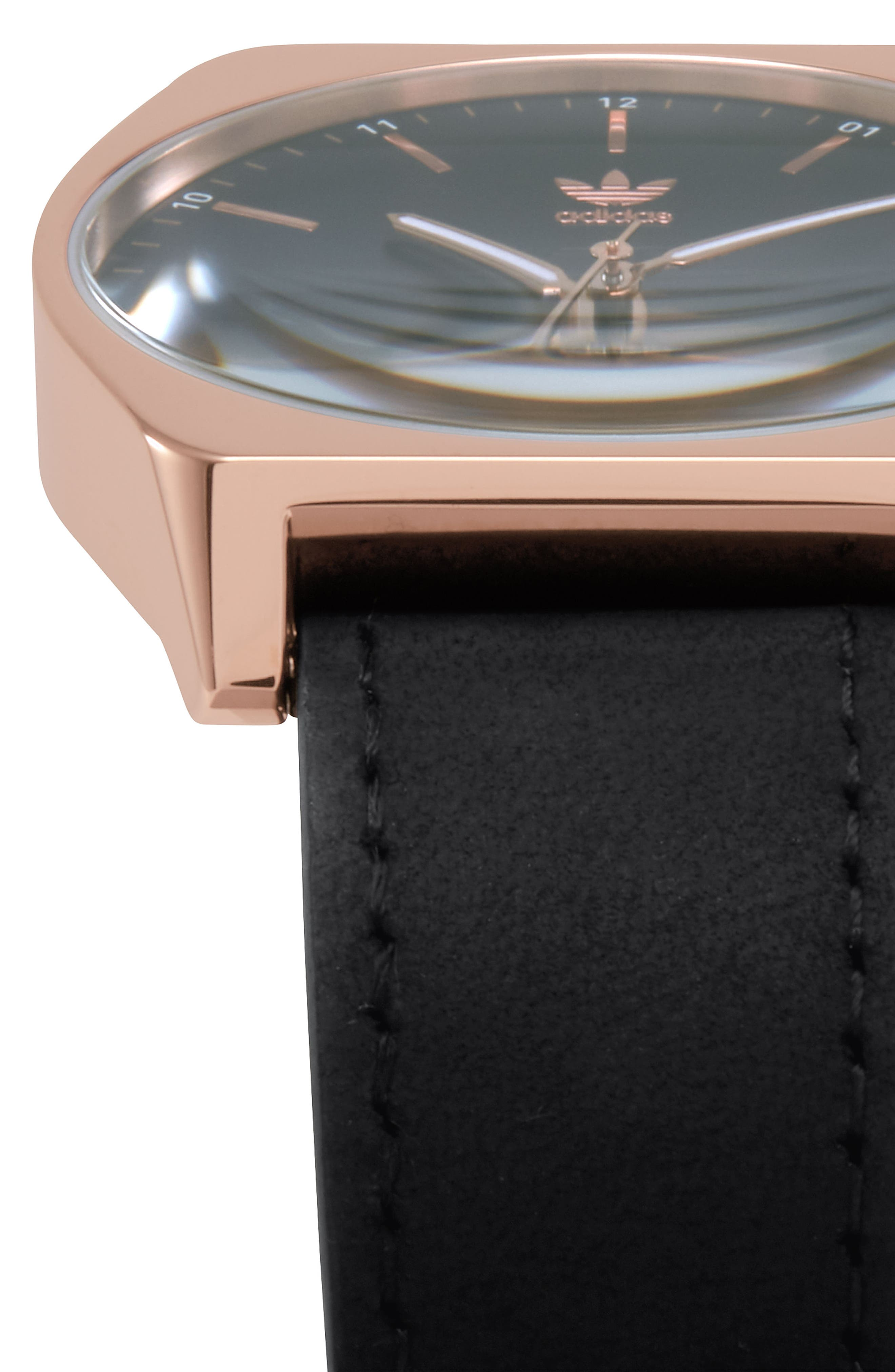 Process Leather Strap Watch, 38mm,                             Alternate thumbnail 5, color,                             Rose Gold/ Navy/ Black
