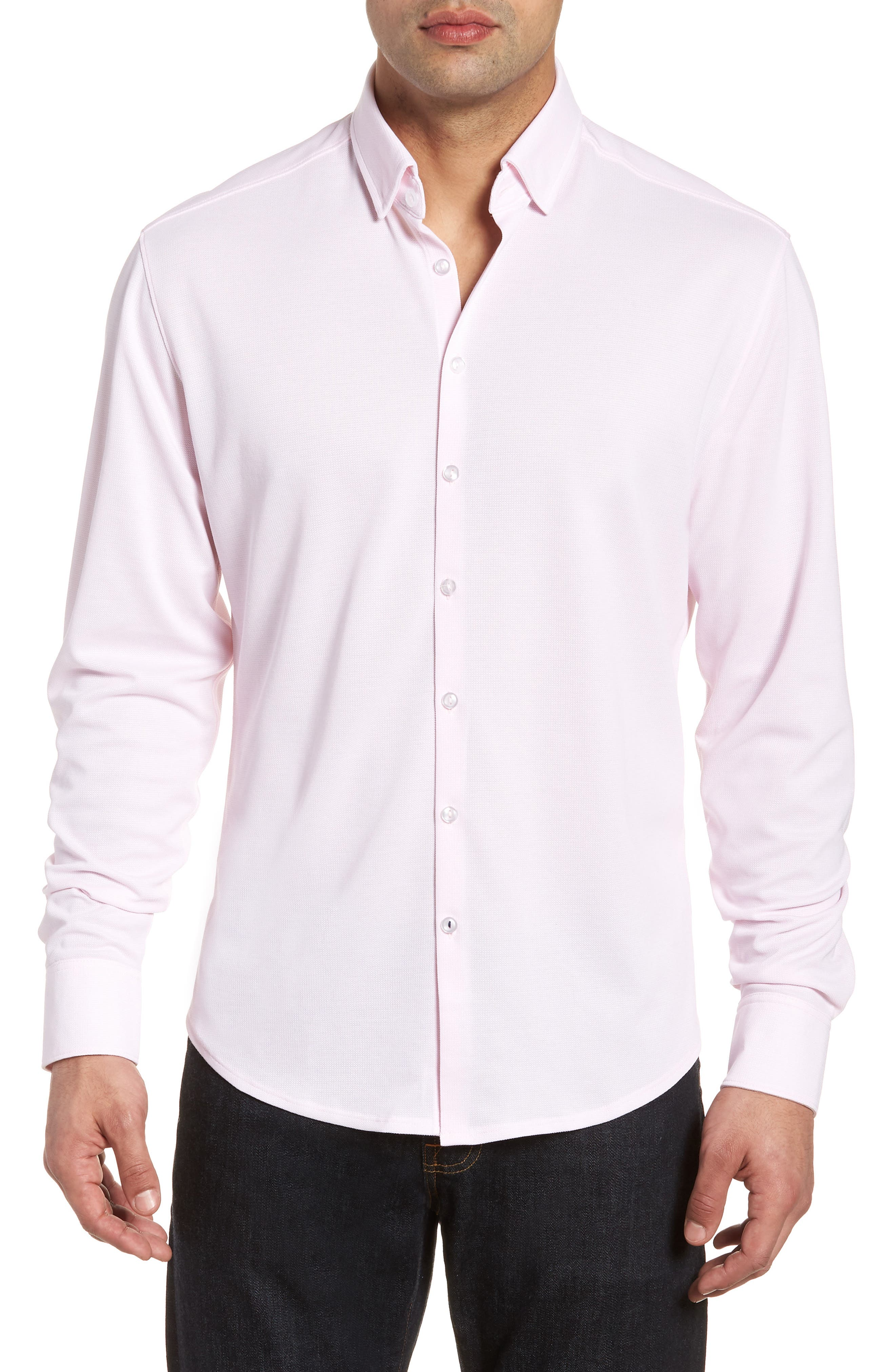 Knit Sport Shirt,                         Main,                         color, Pink