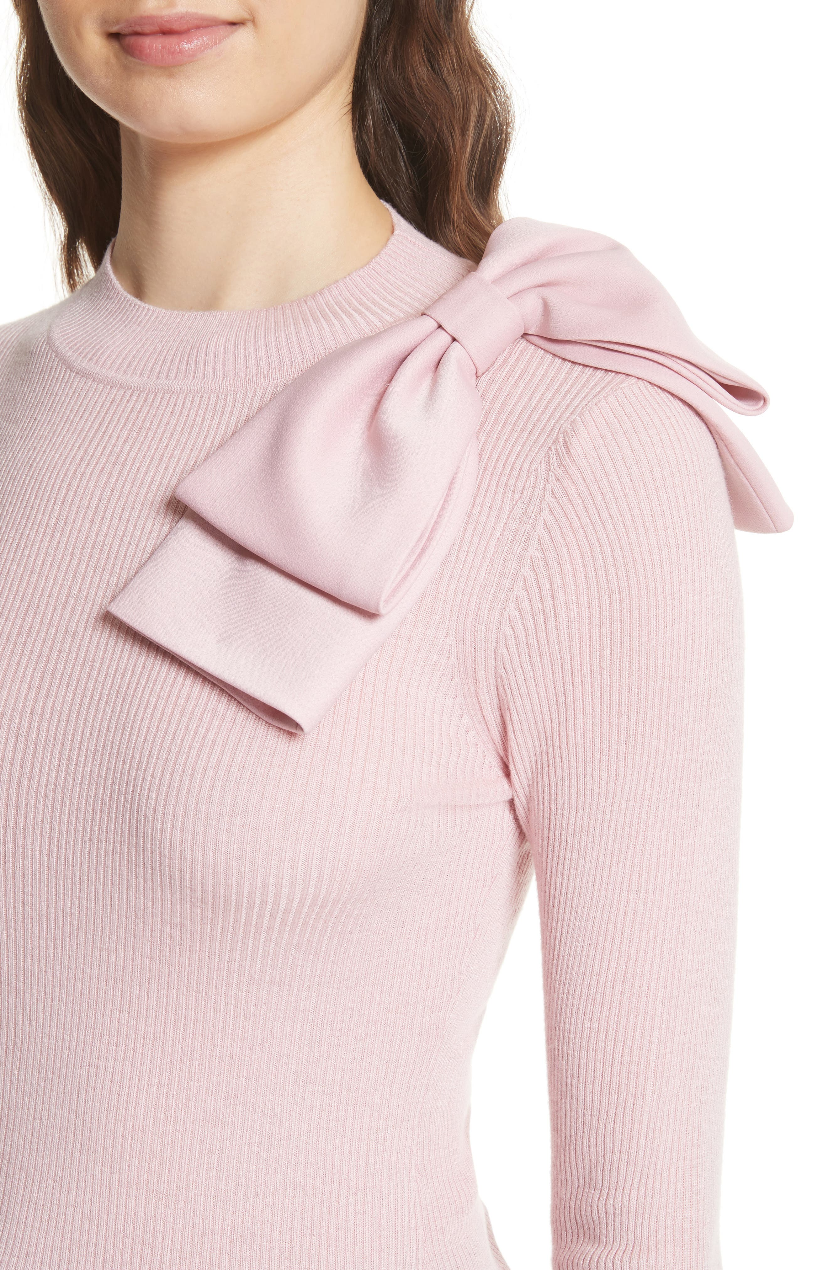Bow Detail Ribbed Sweater,                             Alternate thumbnail 4, color,                             Dusky Pink