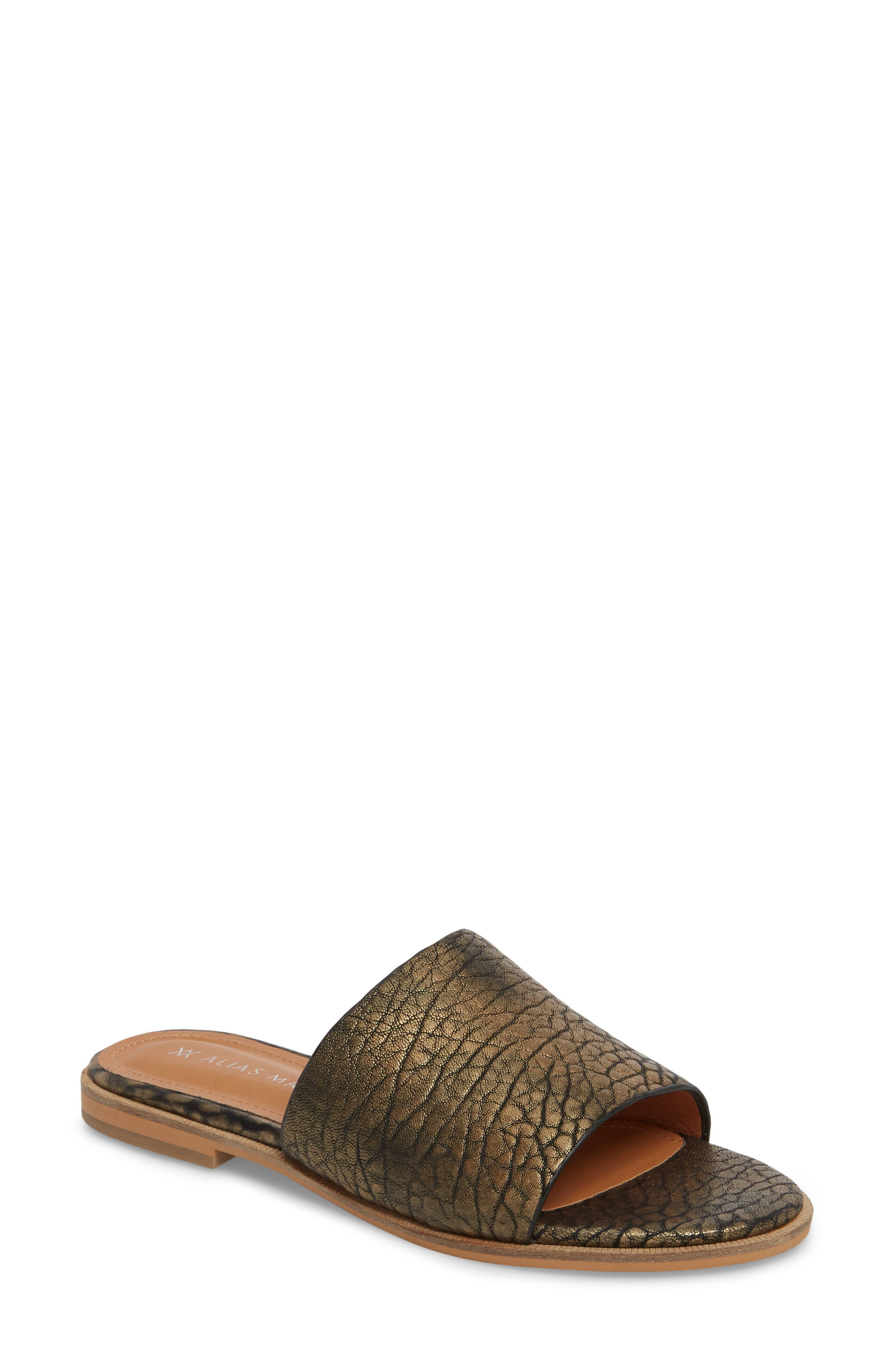 Therapy Slide Sandal,                             Main thumbnail 1, color,                             Gold Leather