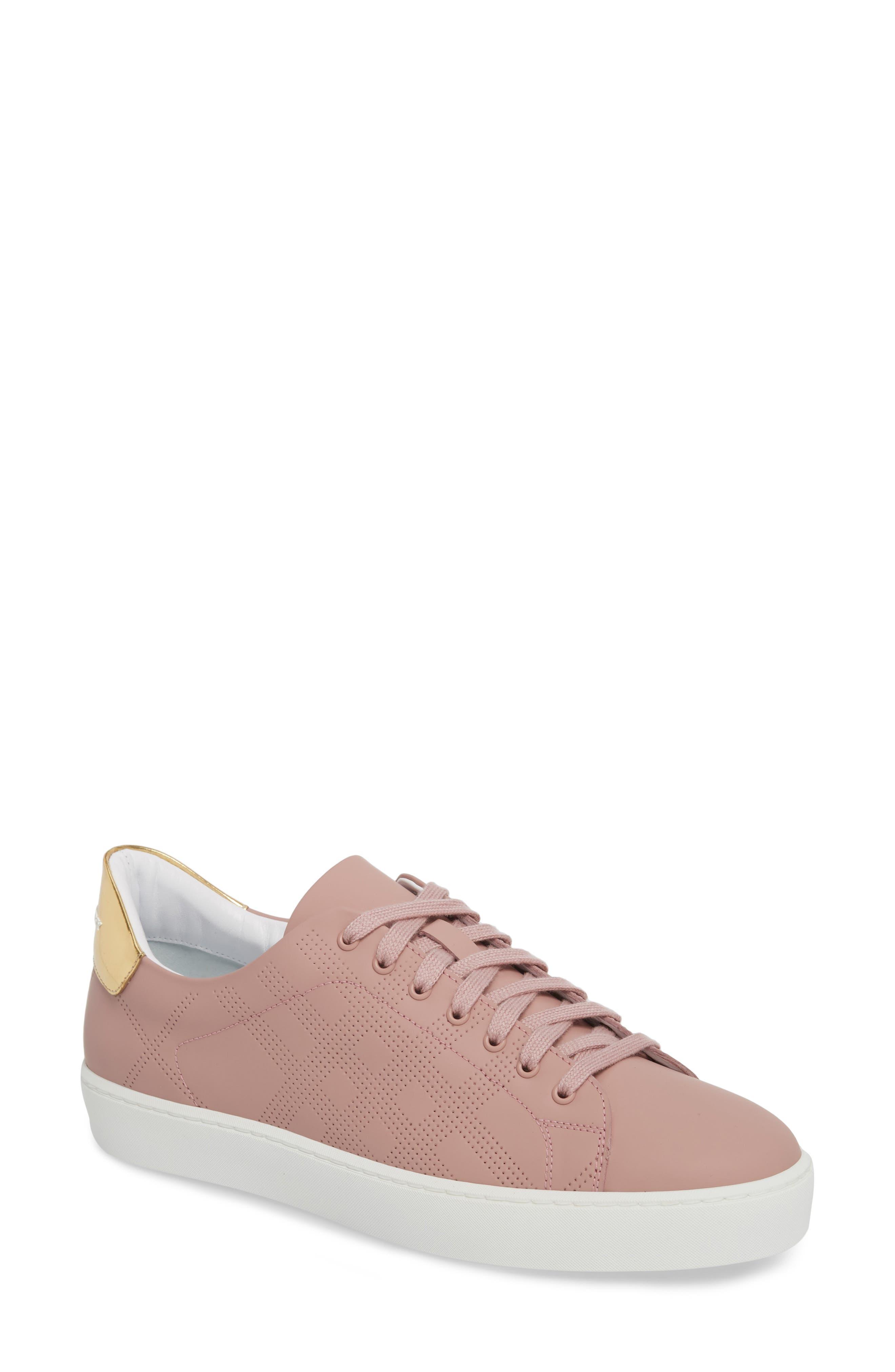 Perforated Check Sneaker,                             Main thumbnail 1, color,                             Rose Pink
