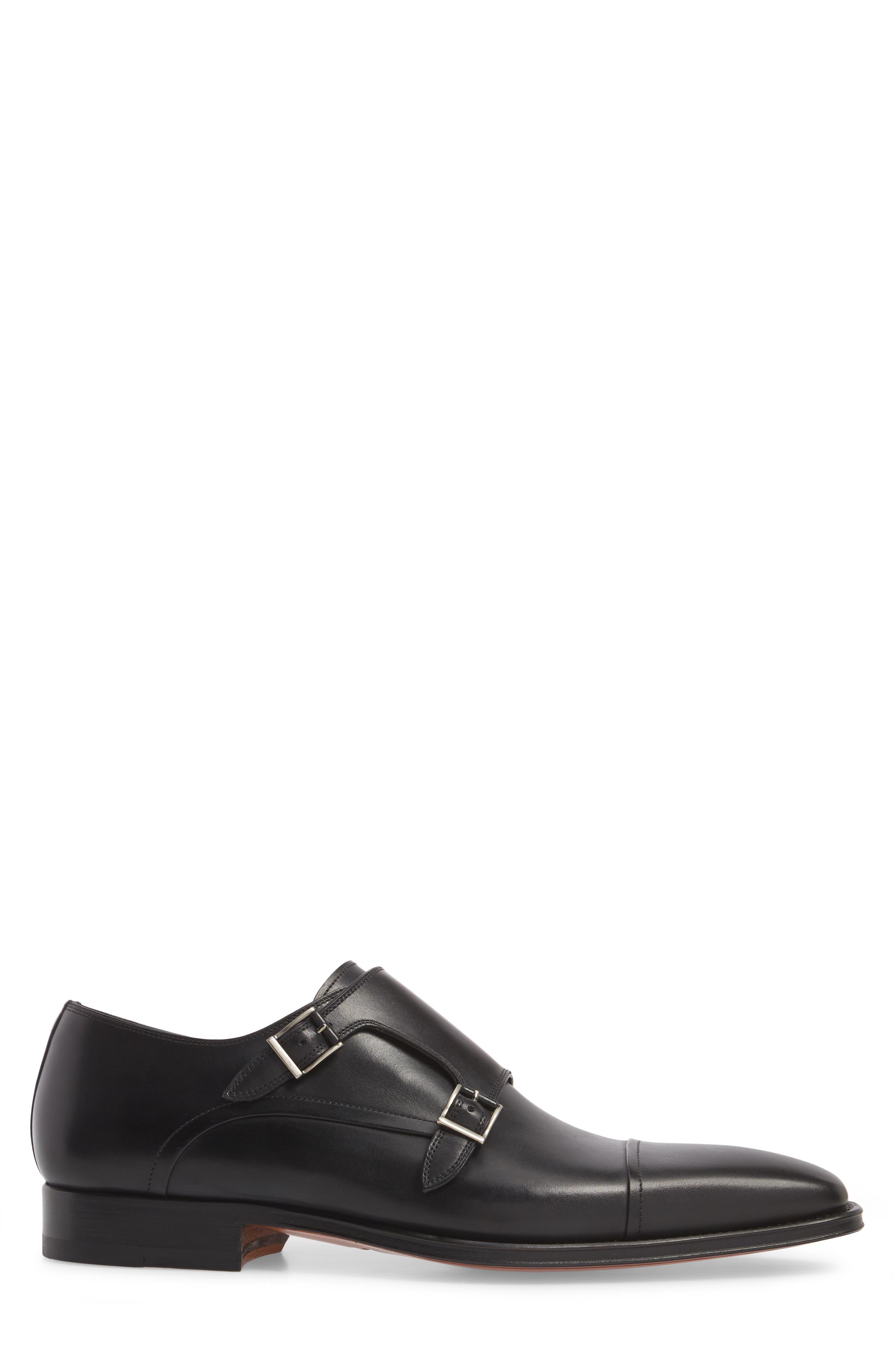 Silvio Double Monk Strap Shoe,                             Alternate thumbnail 3, color,                             Black Leather
