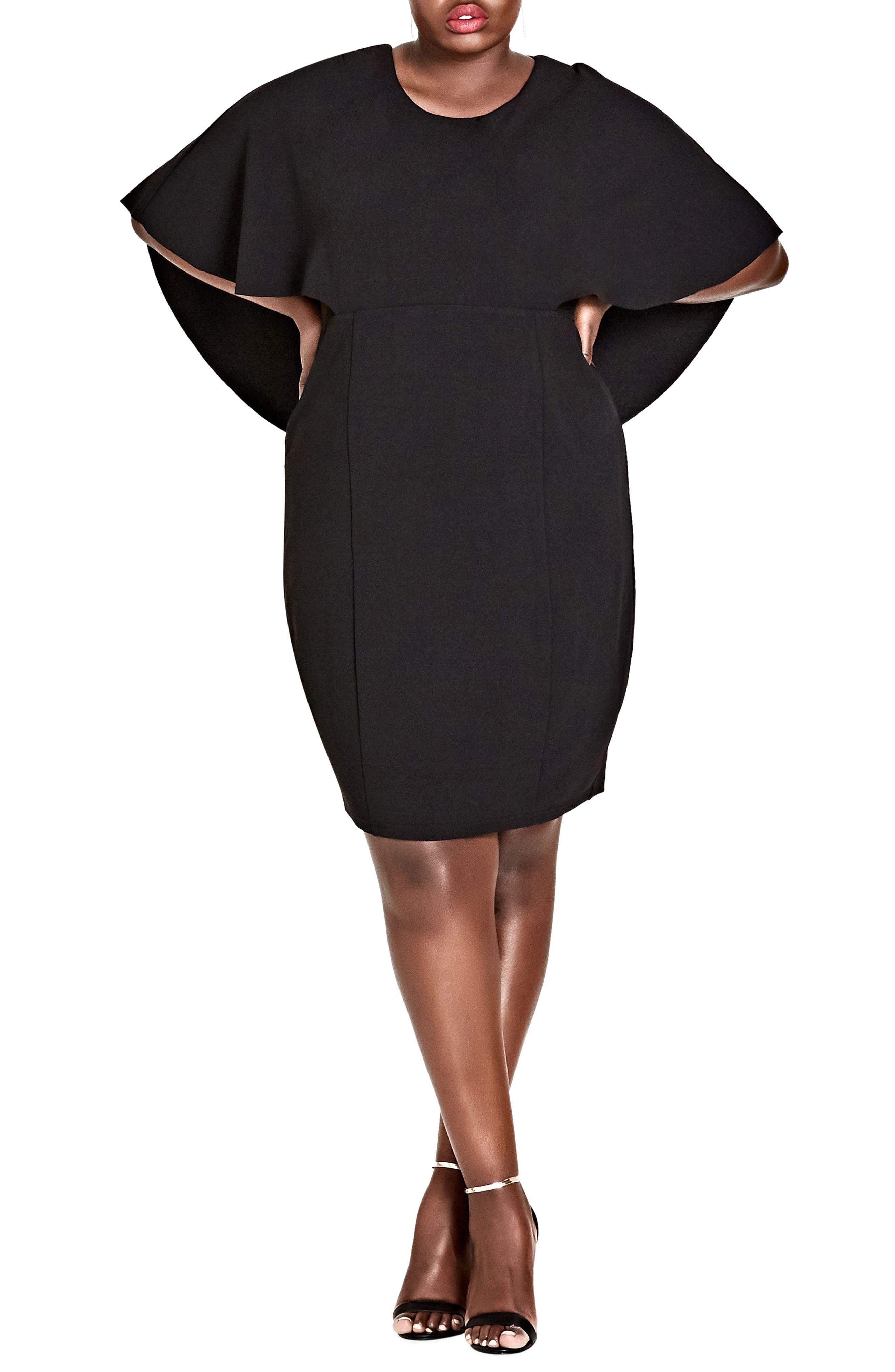 Main Image - City Chic Cape Sleeve Dress (Plus Size)