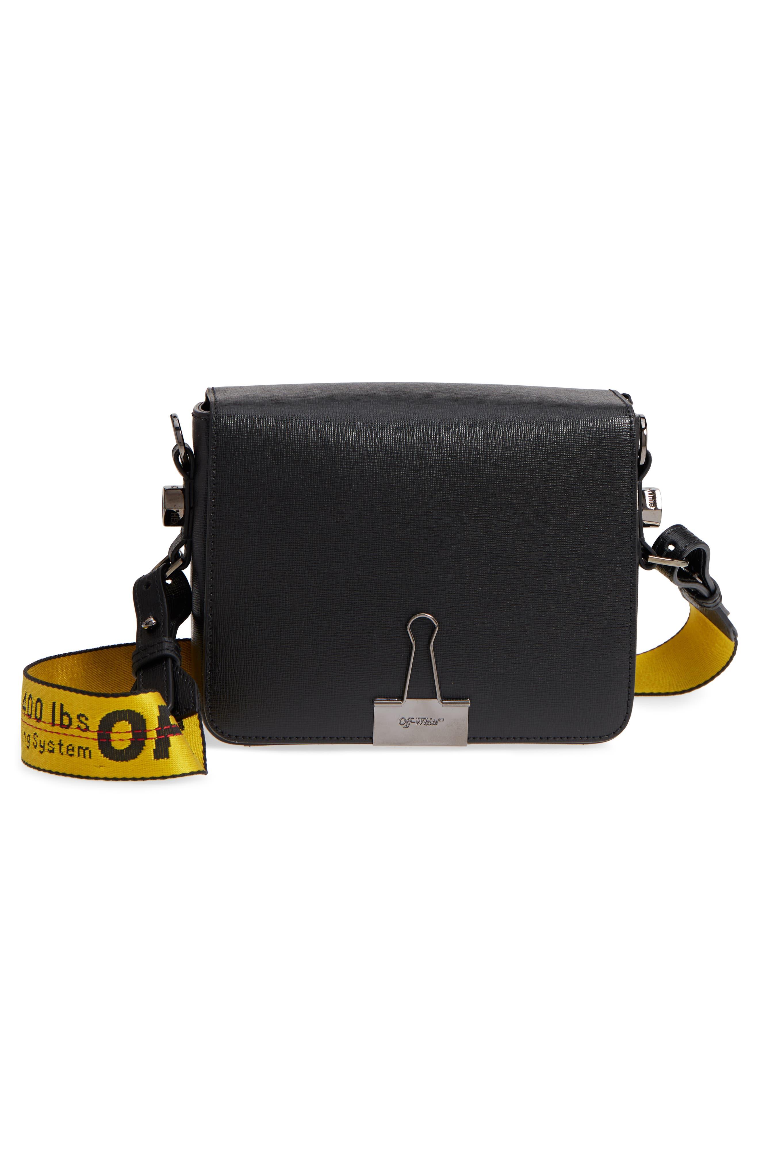 Binder Clip Leather Flap Bag,                             Alternate thumbnail 8, color,                             Black