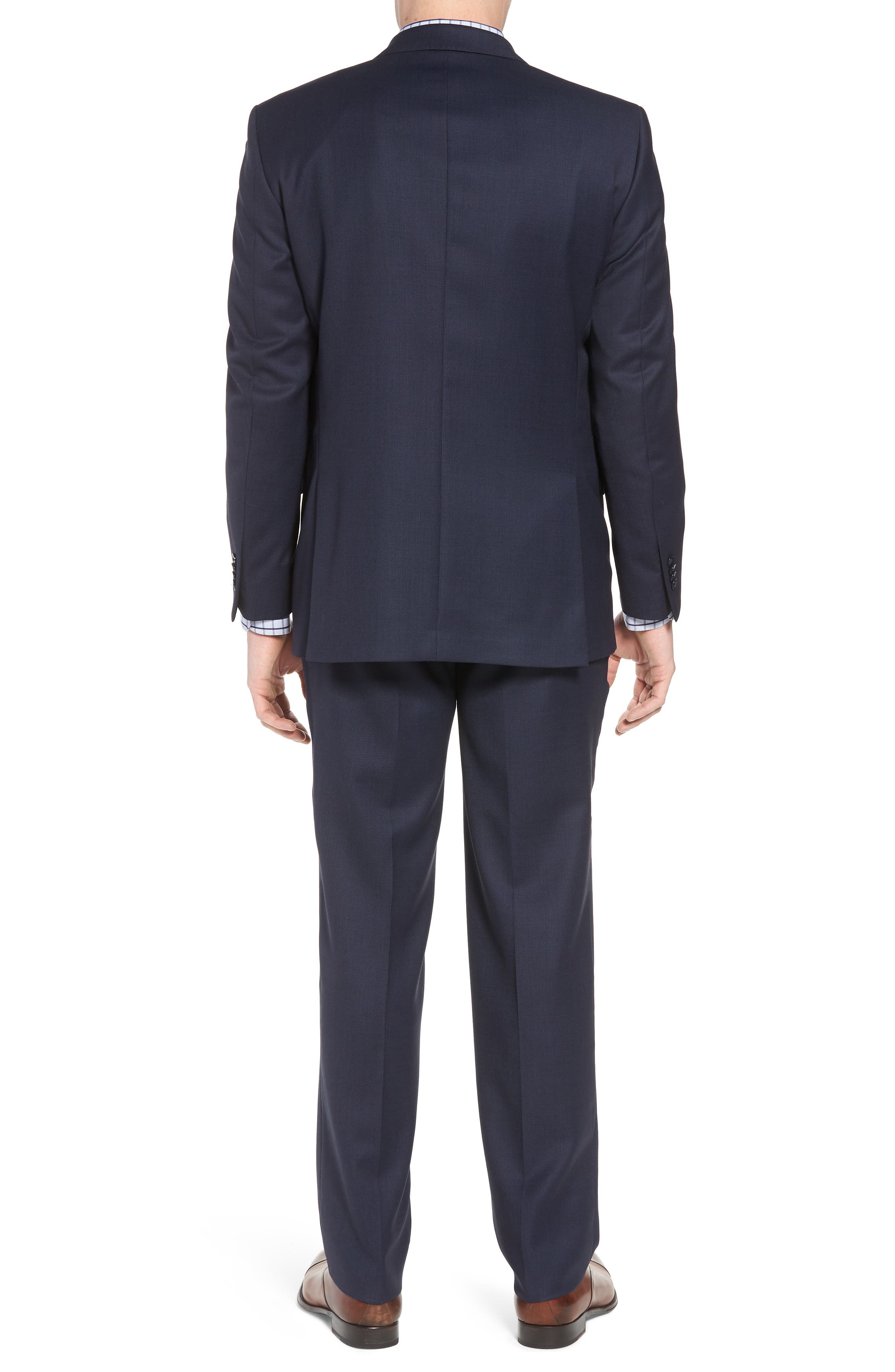 Classic Fit Bird's Eye Wool Suit,                             Alternate thumbnail 2, color,                             Navy