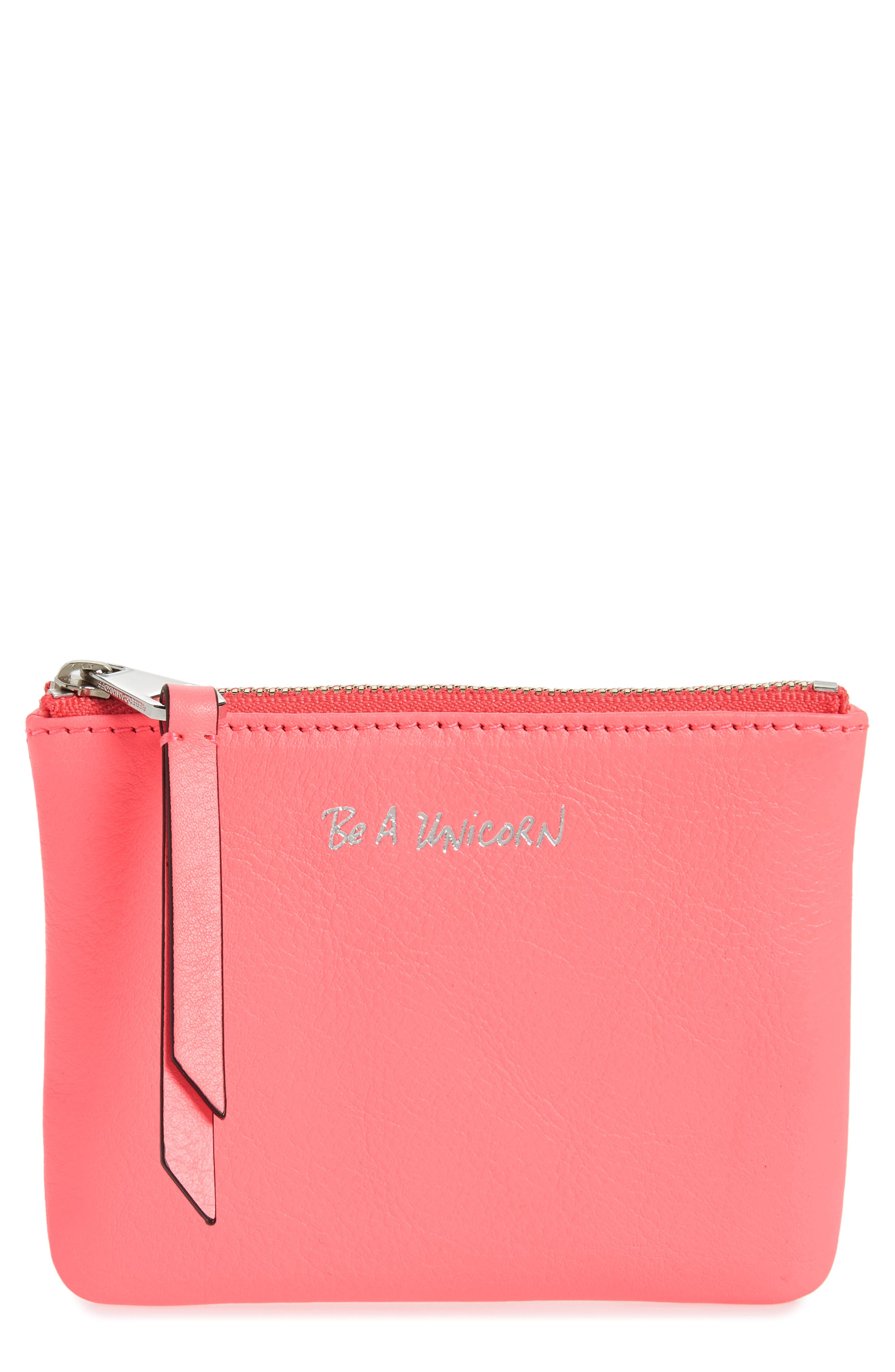 Betty - Be a Unicorn Leather Pouch,                             Main thumbnail 1, color,                             Neon Pink
