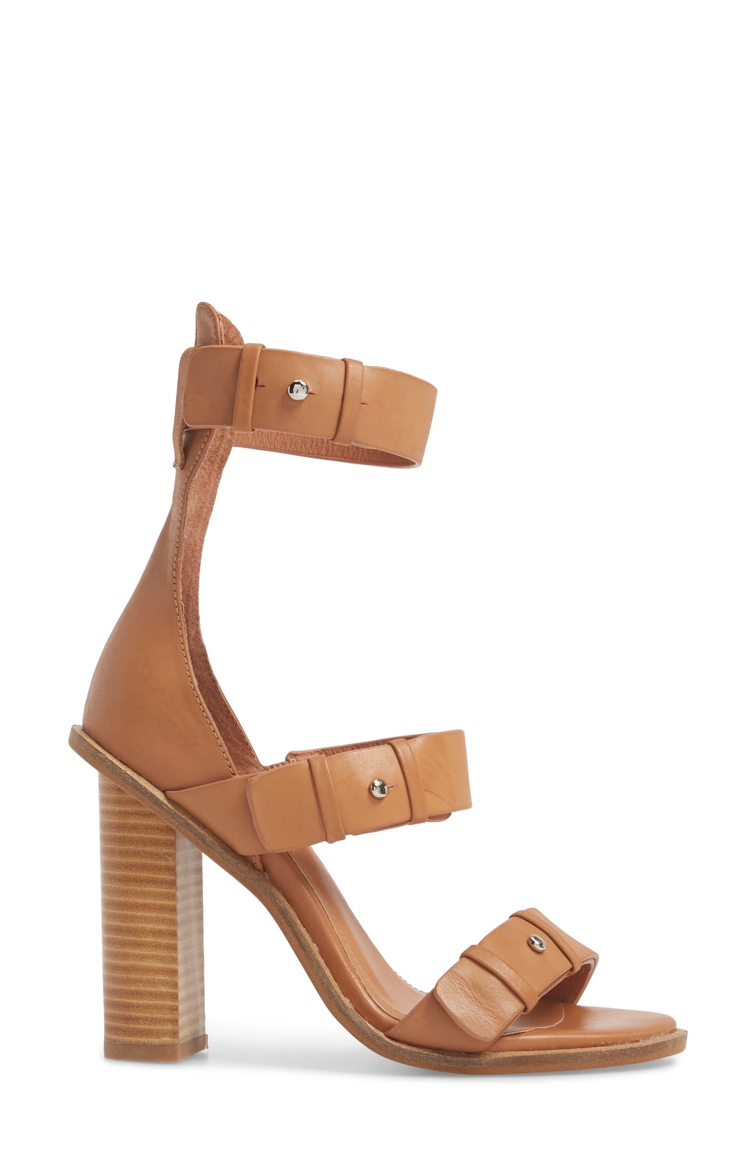 Adore Tall Cuffed Sandal,                             Alternate thumbnail 3, color,                             Light Tan Leather