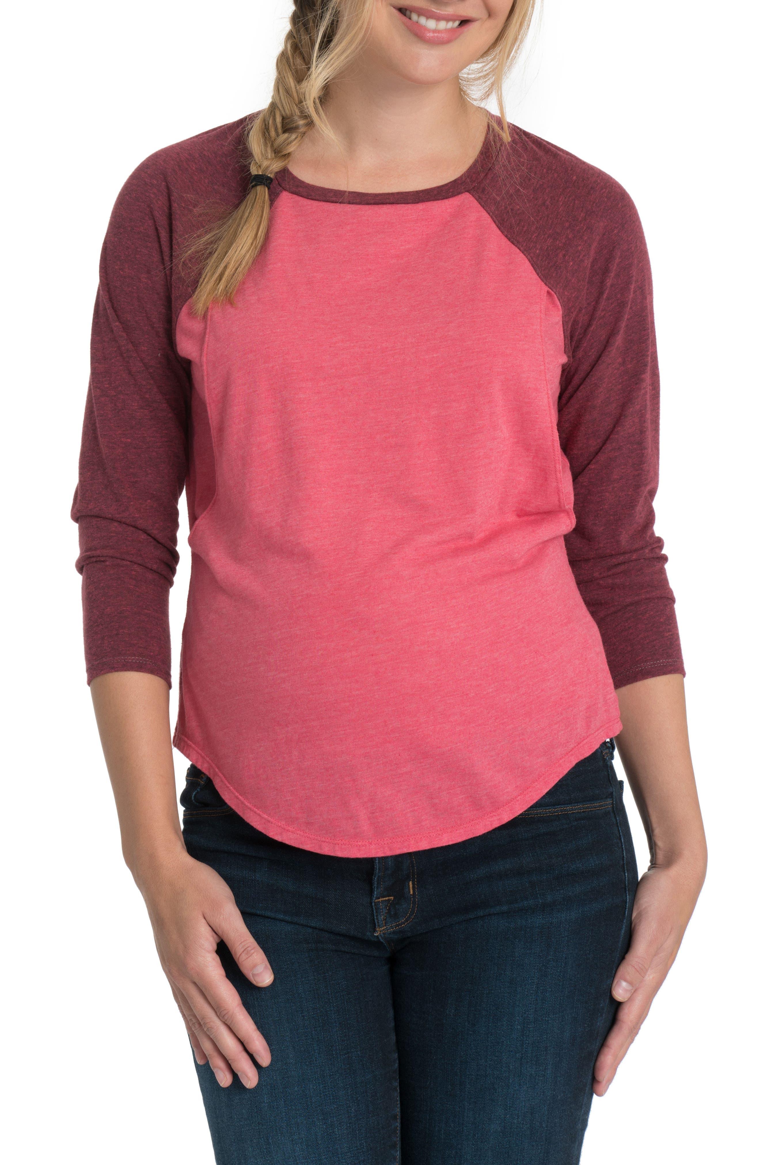 Relax Raglan Sleeve Maternity/Nursing Top,                         Main,                         color, Soft Red