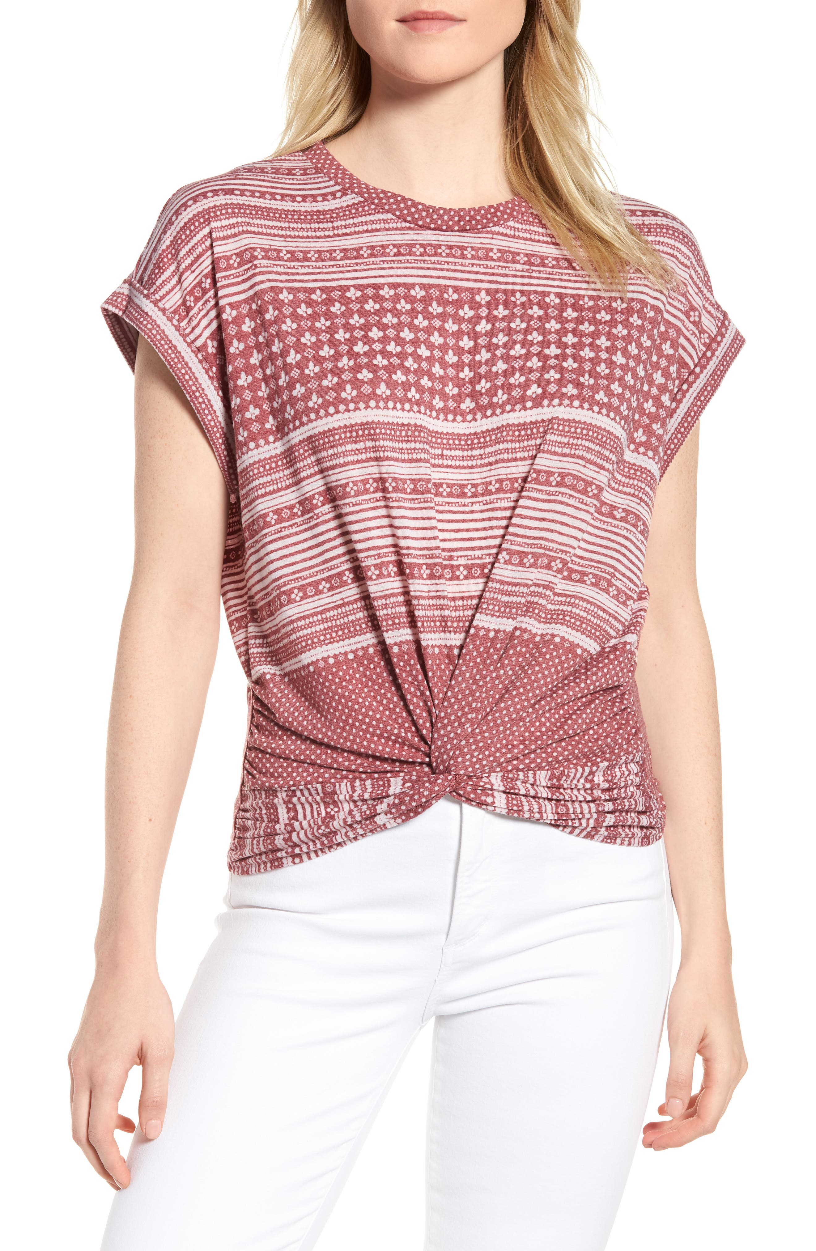 Twist Front Print Tee,                             Main thumbnail 1, color,                             Earth Red