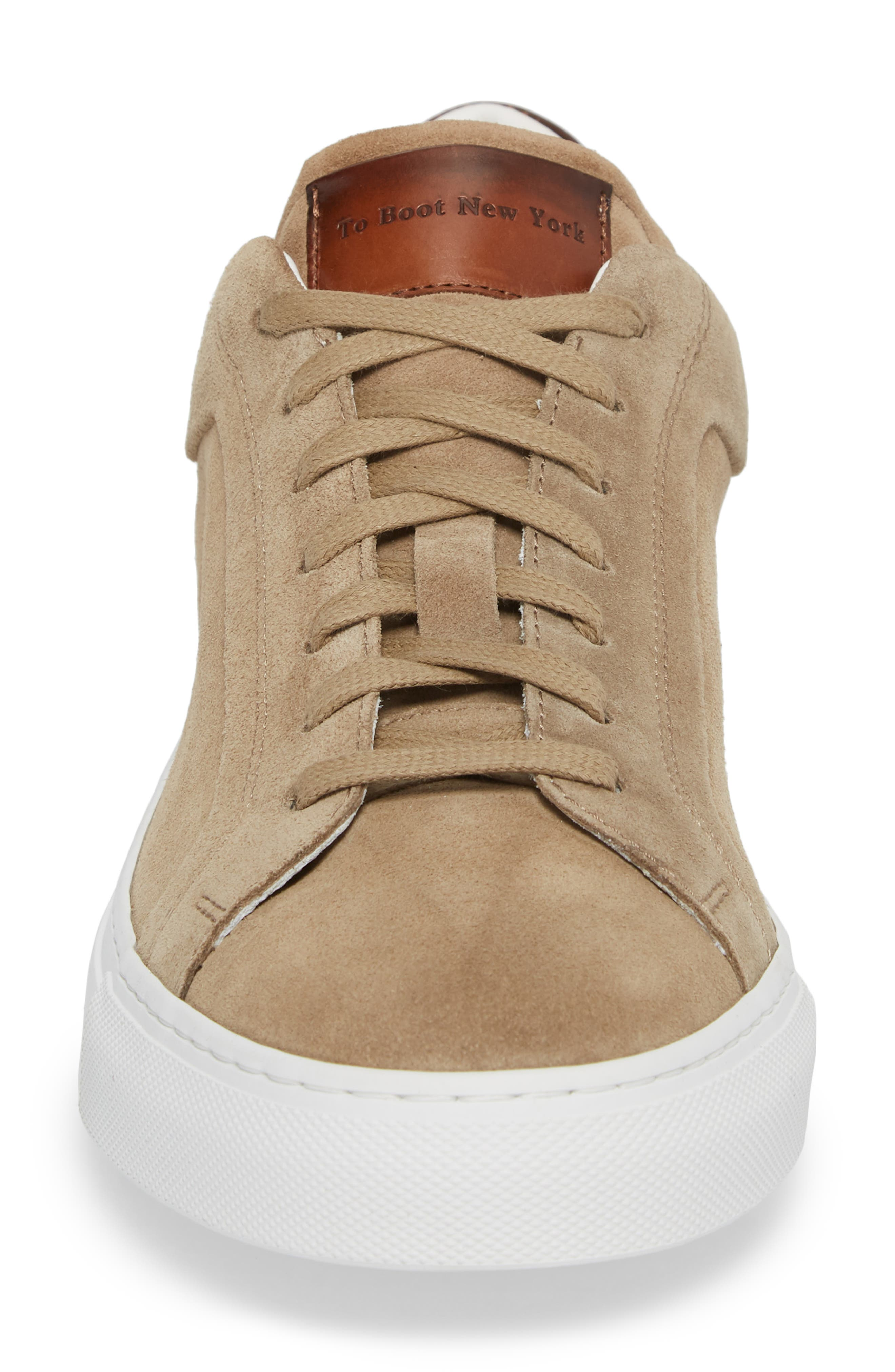 Britt Low Top Sneaker,                             Alternate thumbnail 4, color,                             Tan Suede