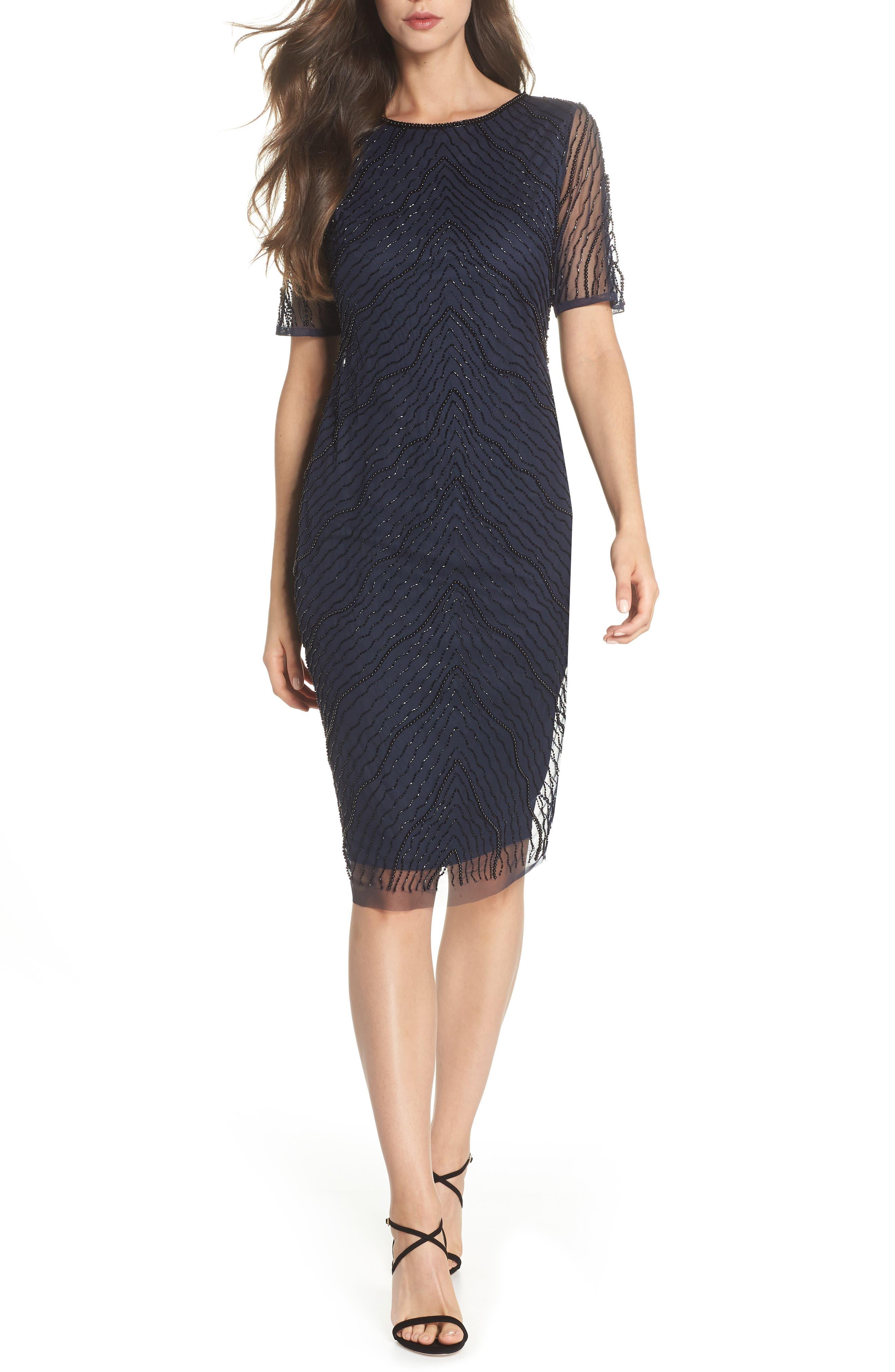Adrianna Papell Deco Beaded Tulle Sheath Dress