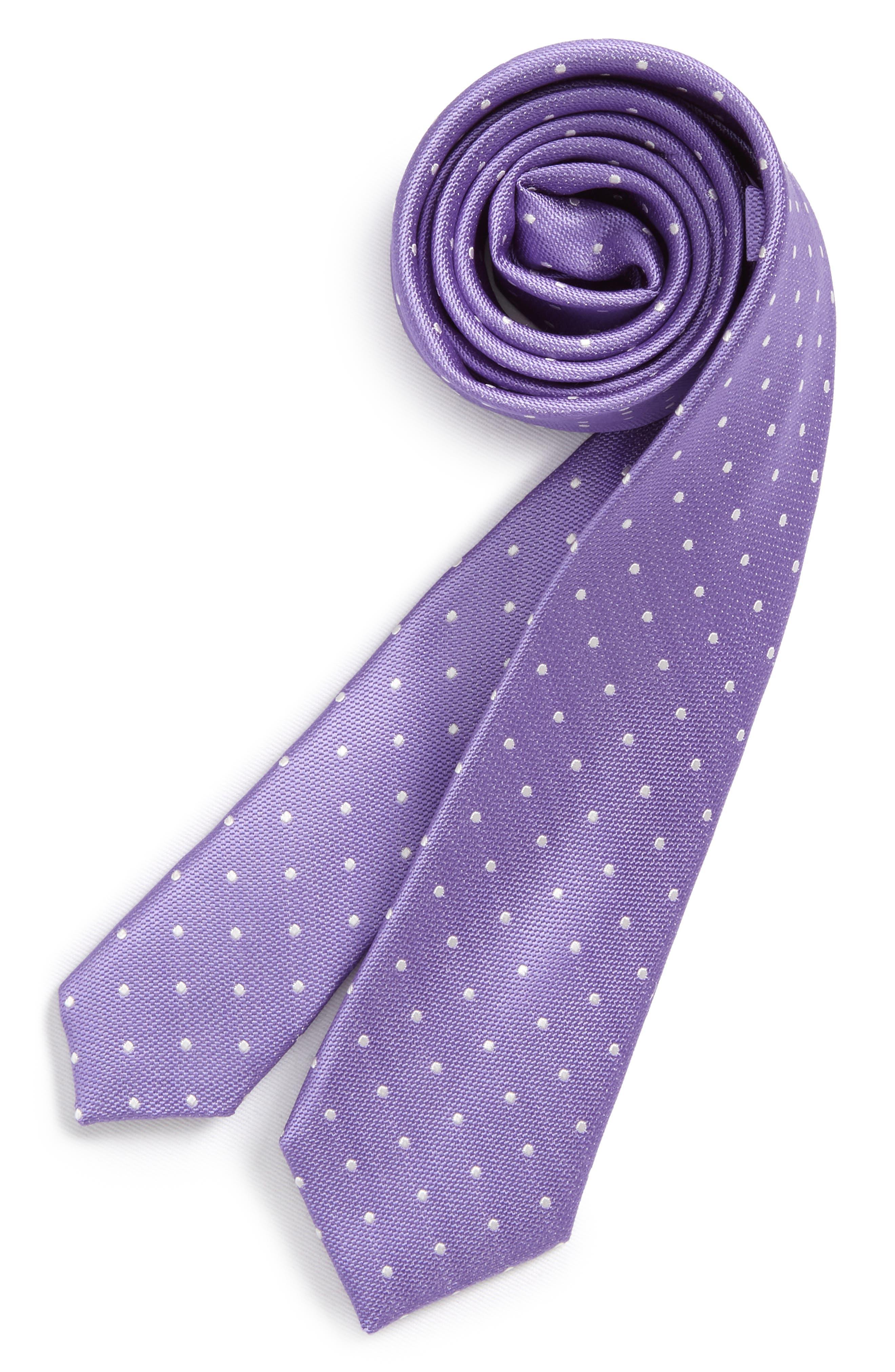 Dainty Dot Silk Tie,                             Main thumbnail 1, color,                             Purple
