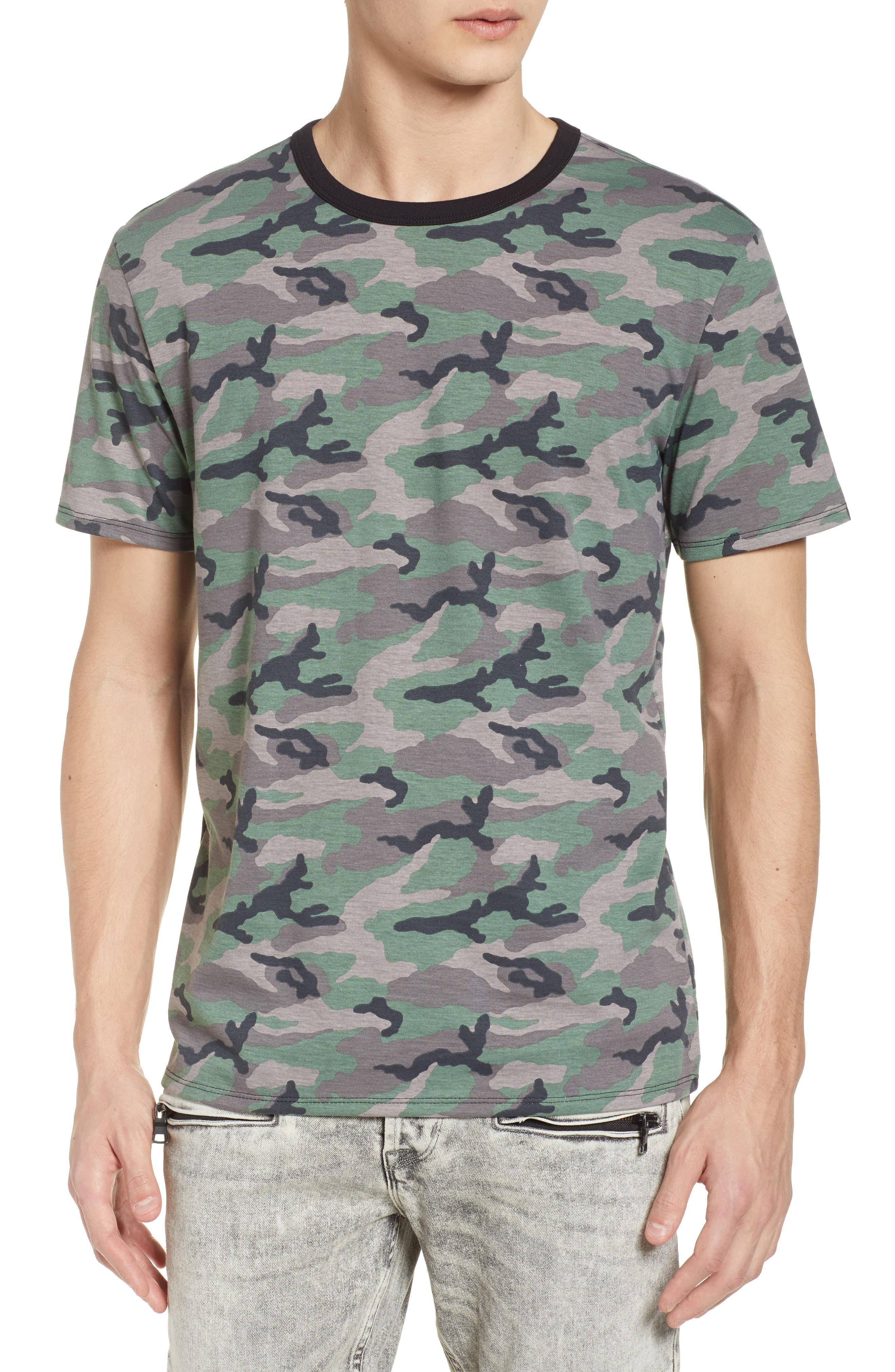 Camo Print Ringer T-Shirt,                             Main thumbnail 1, color,                             Brown Green Camo