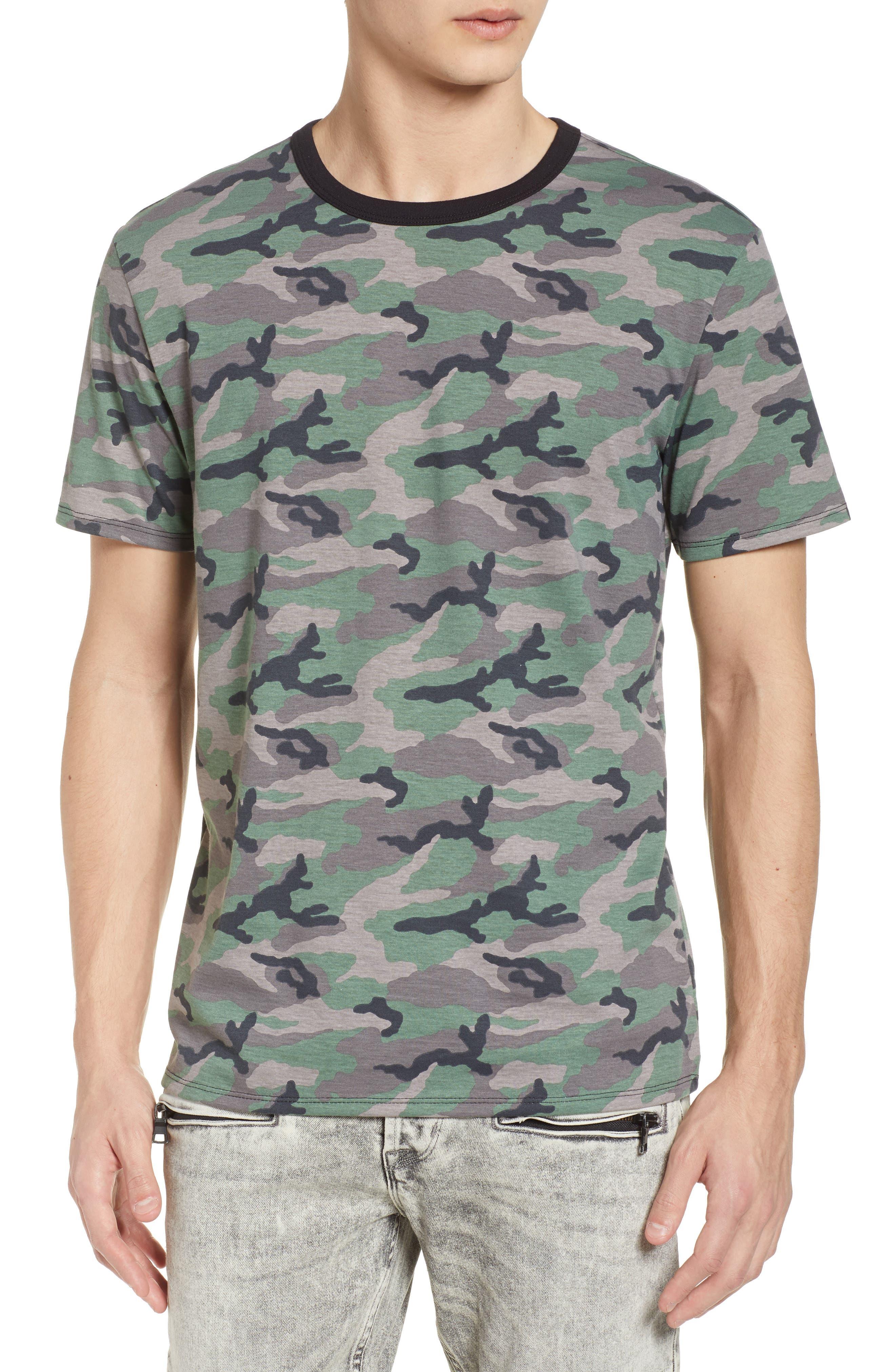 Camo Print Ringer T-Shirt,                         Main,                         color, Brown Green Camo