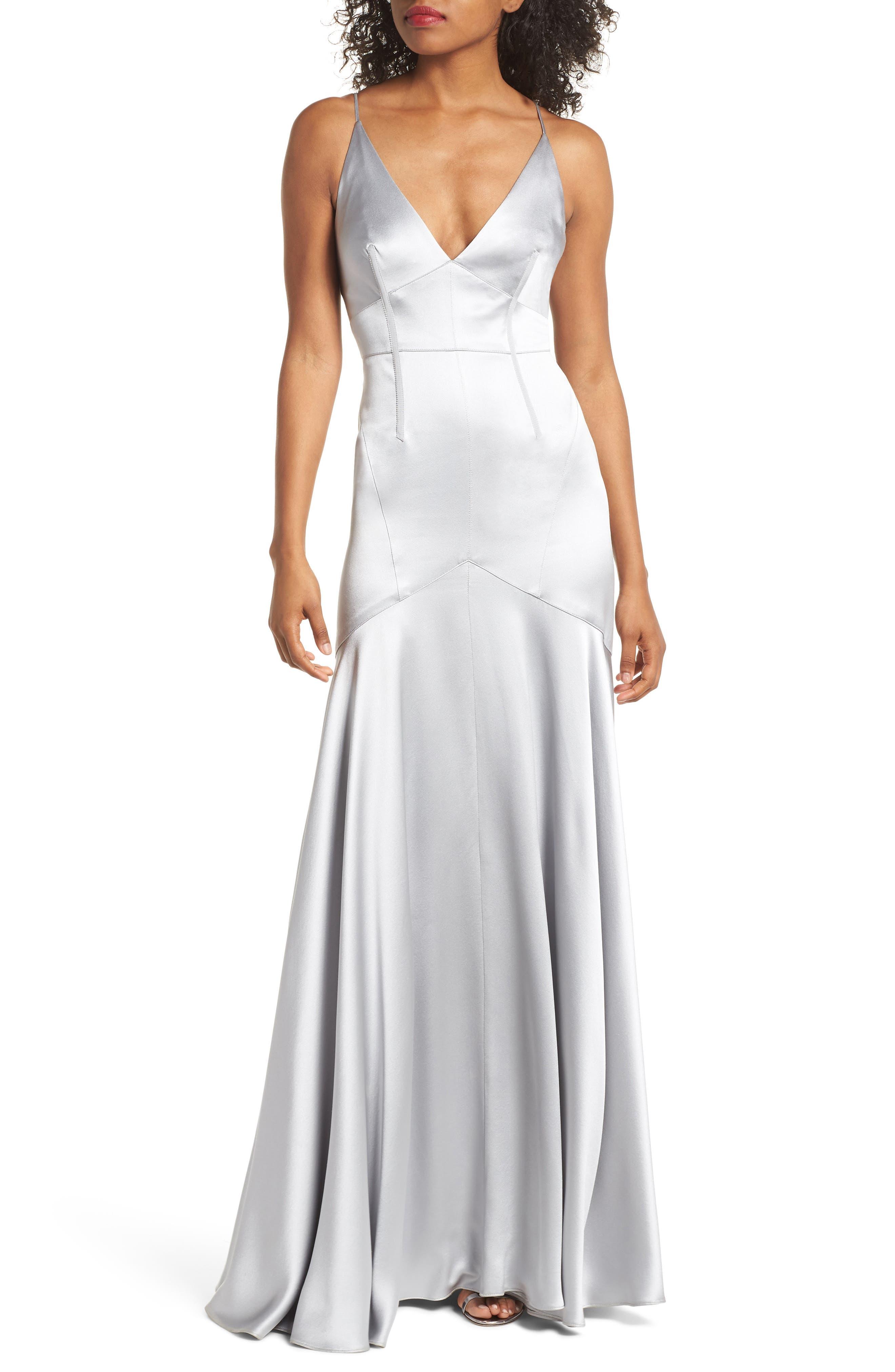 Corset Detail Satin Gown,                             Main thumbnail 1, color,                             Mercury