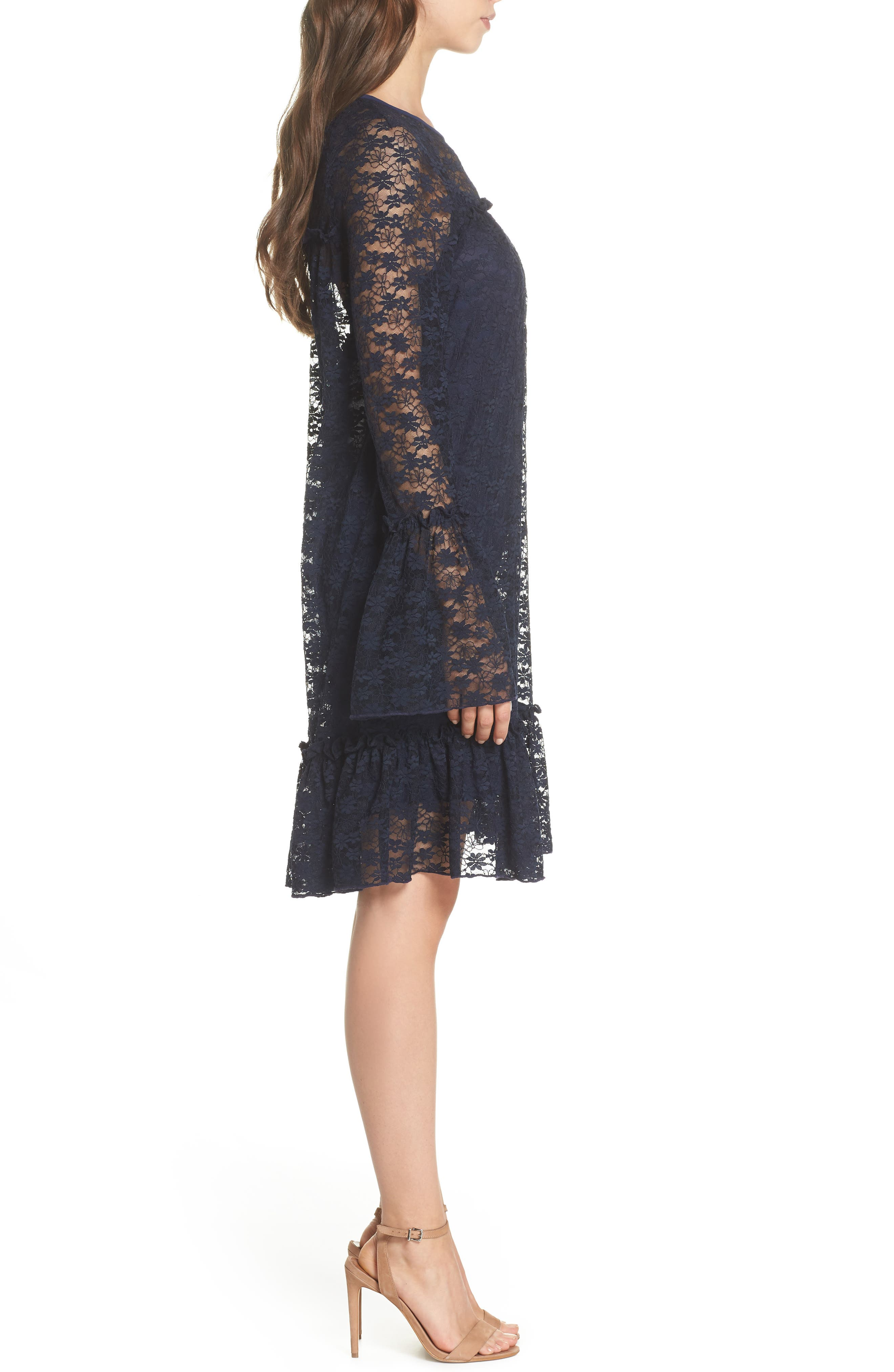 Flare Cuff Lace Dress,                             Alternate thumbnail 3, color,                             True Navy