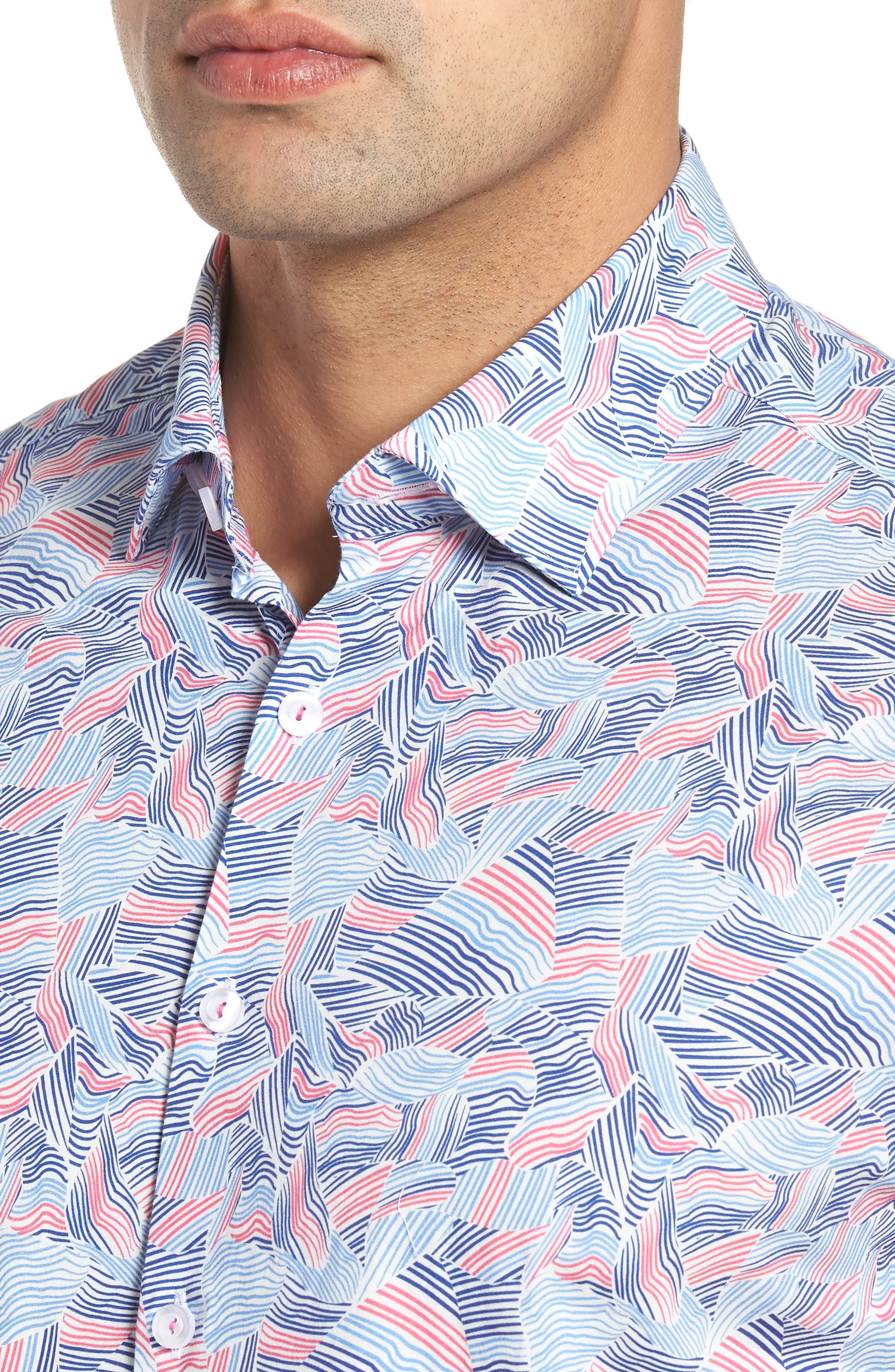 Contemporary Fit Wave Print Sport Shirt,                             Alternate thumbnail 4, color,                             Pink