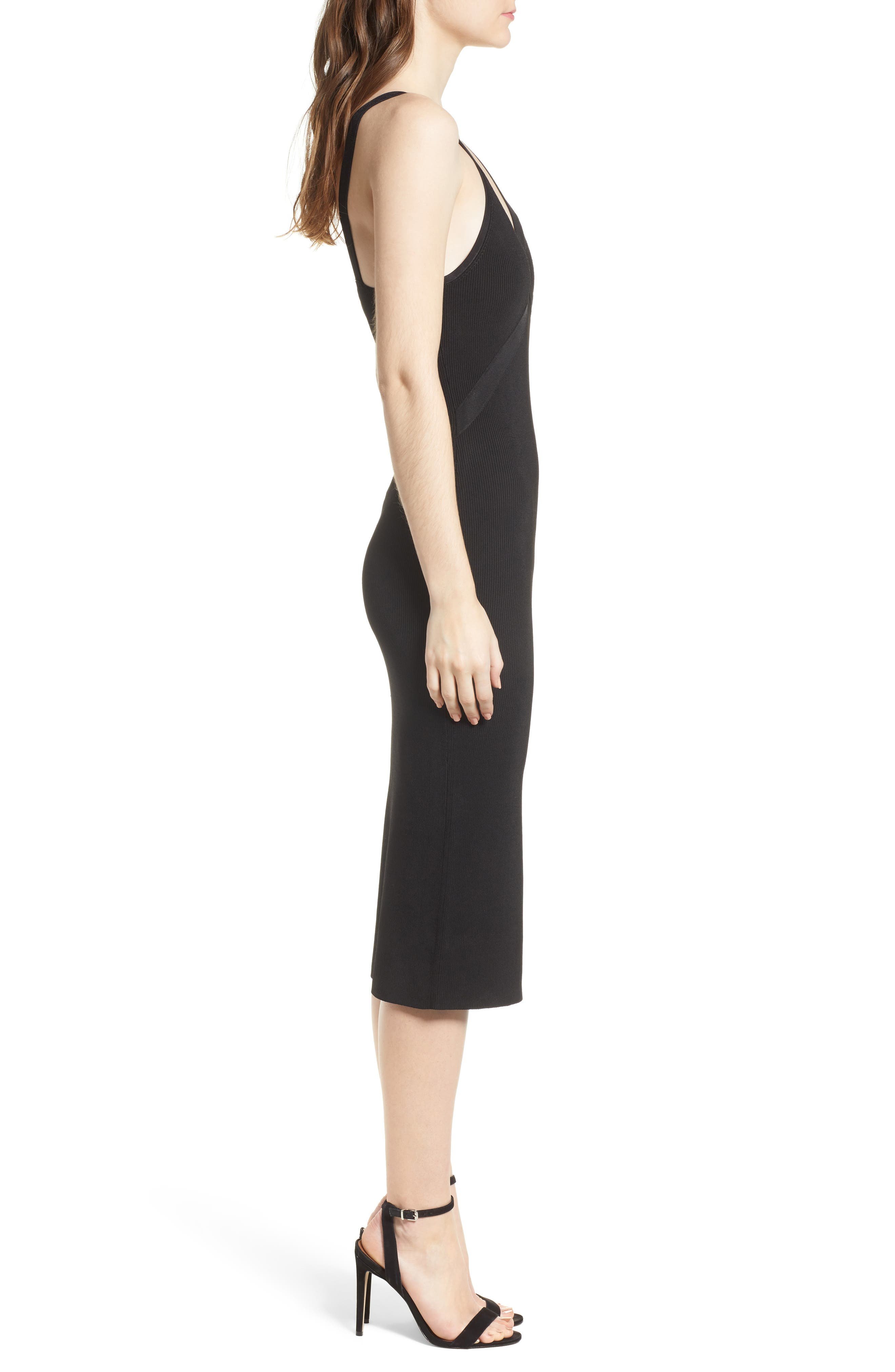 Body-Con Sweater Dress,                             Alternate thumbnail 3, color,                             Black