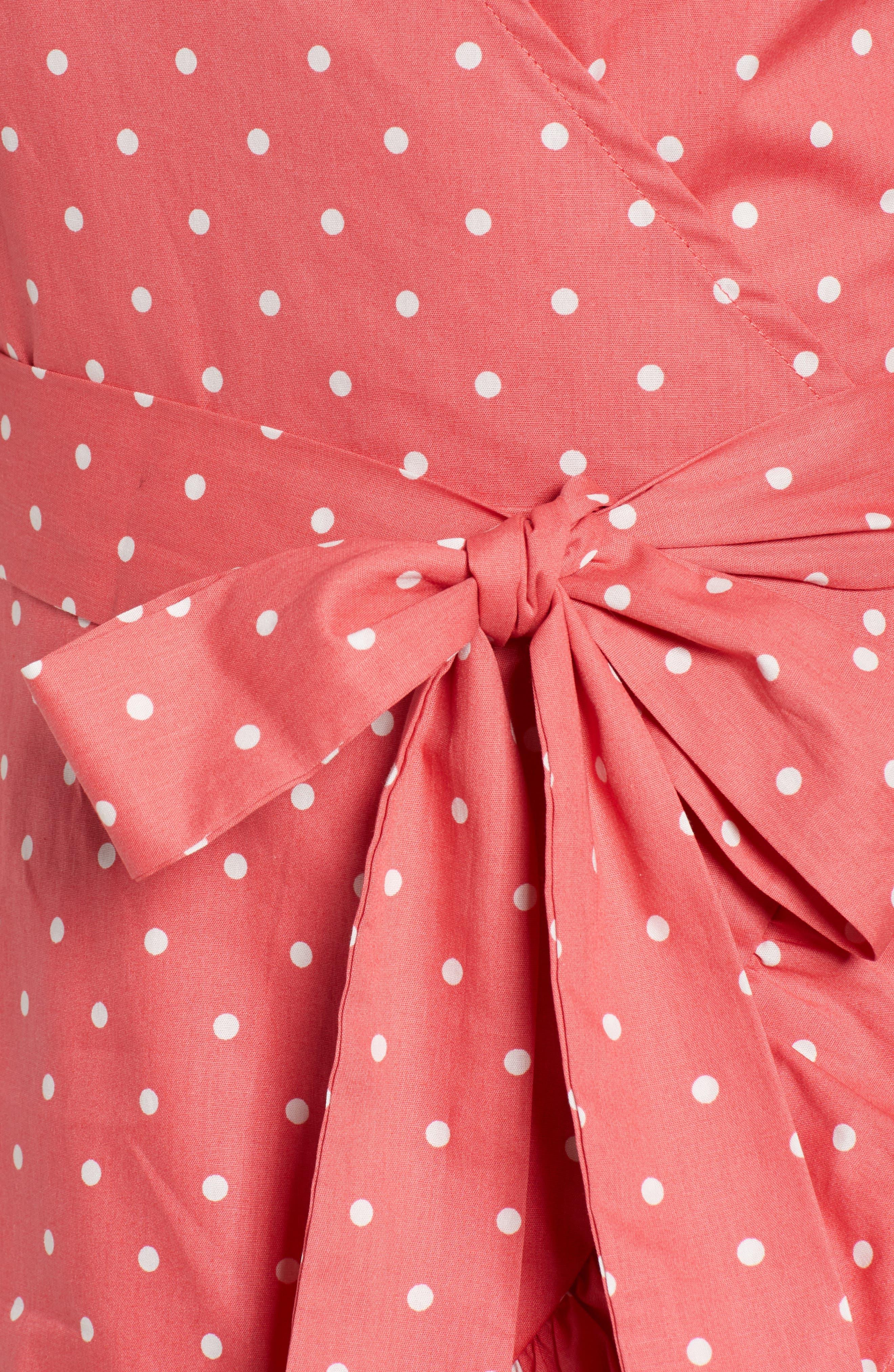 Ruffle Faux Wrap Dress,                             Alternate thumbnail 5, color,                             Red