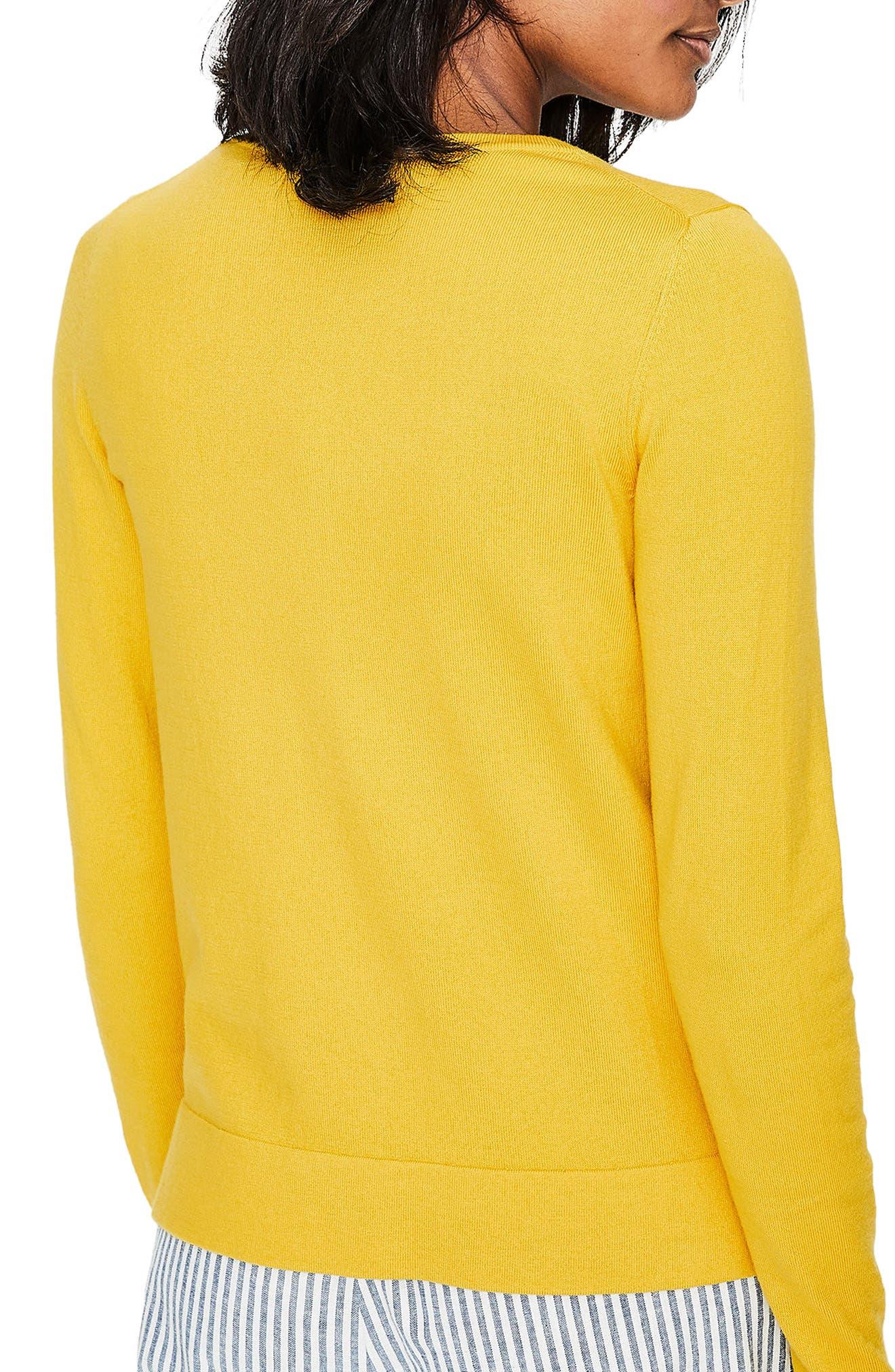 Crewneck Cardigan,                             Alternate thumbnail 3, color,                             Mimosa Yellow